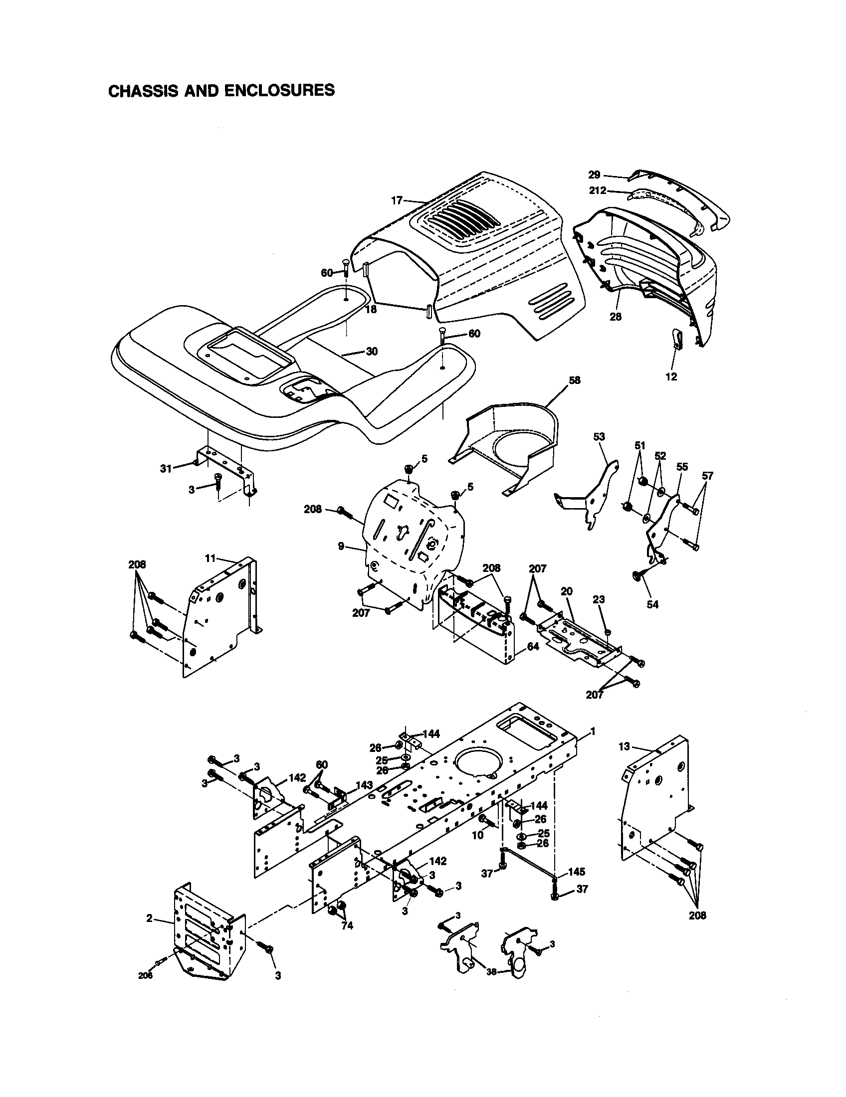Craftsman 917270923 chassis and enclosures diagram
