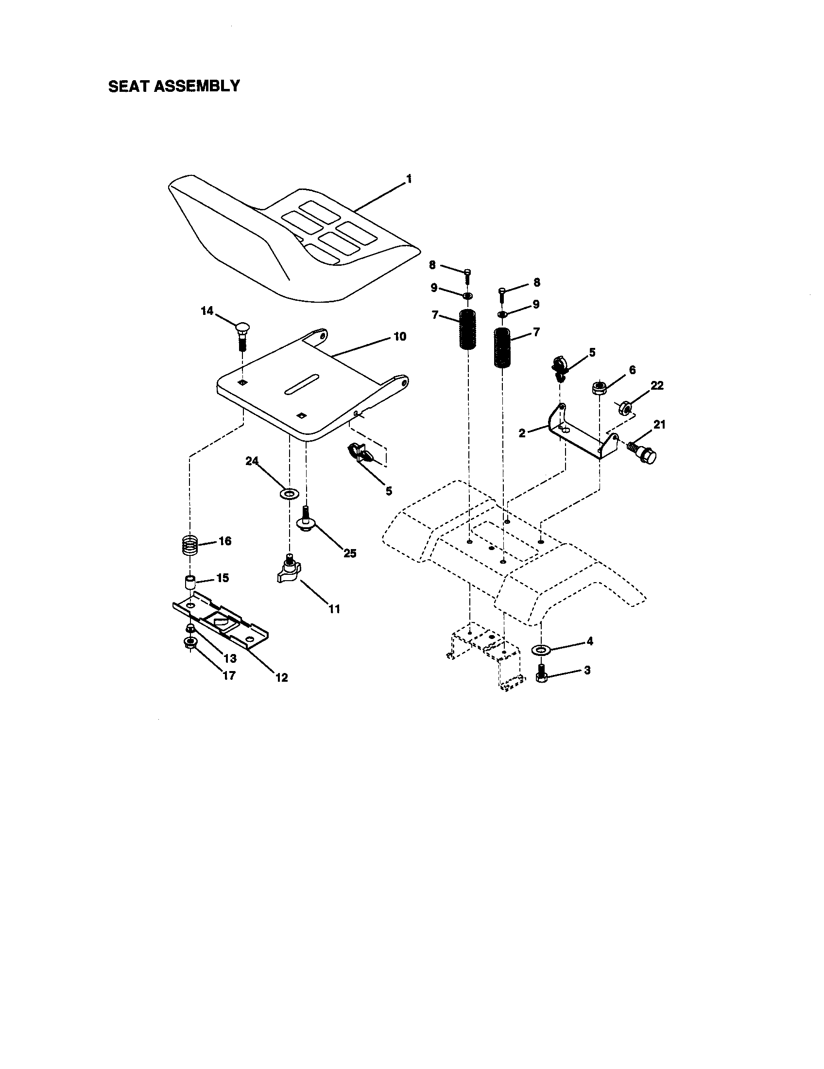Craftsman 917270923 seat assembly diagram