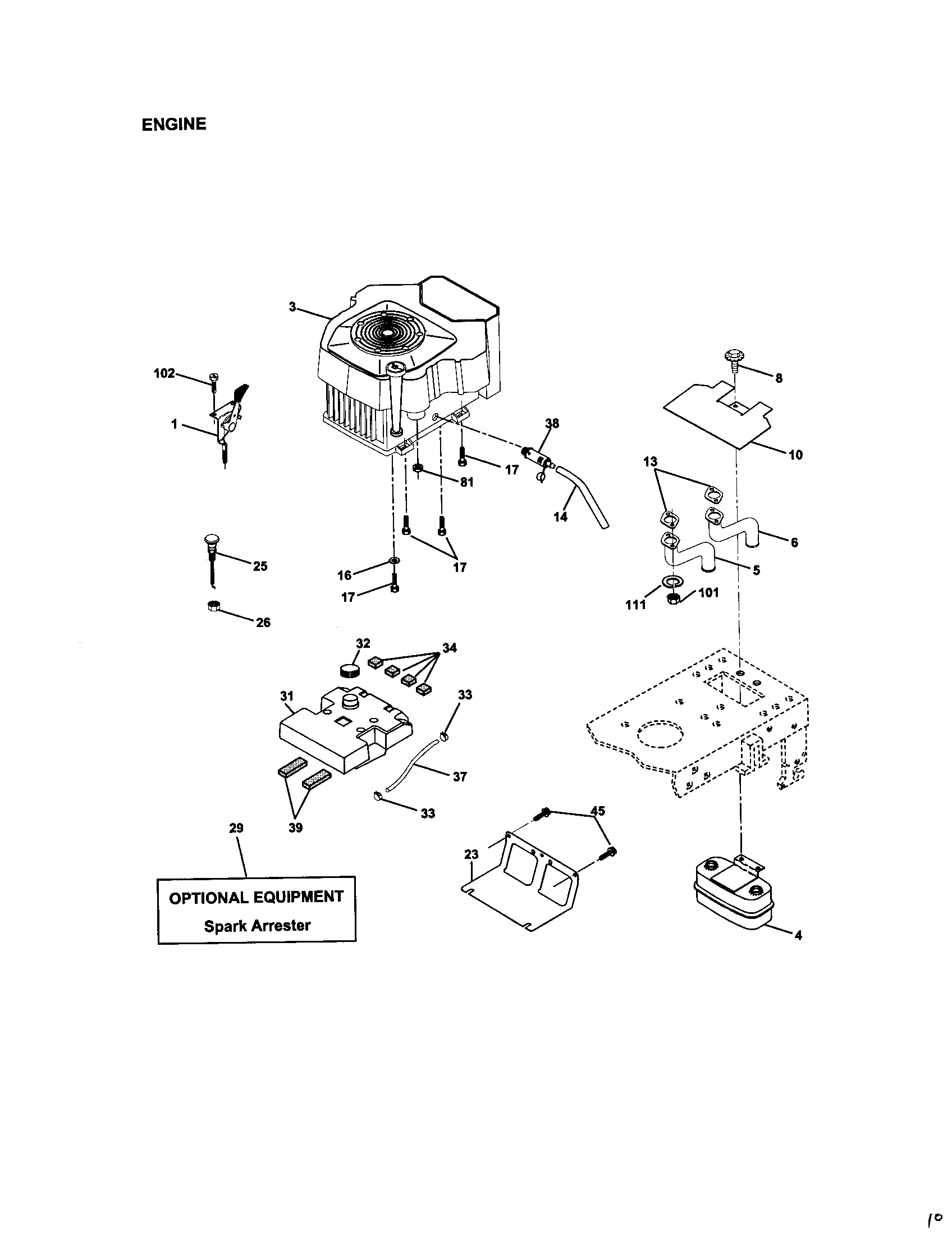 engine diagram parts list for model 917272242 craftsman parts mower tractor parts