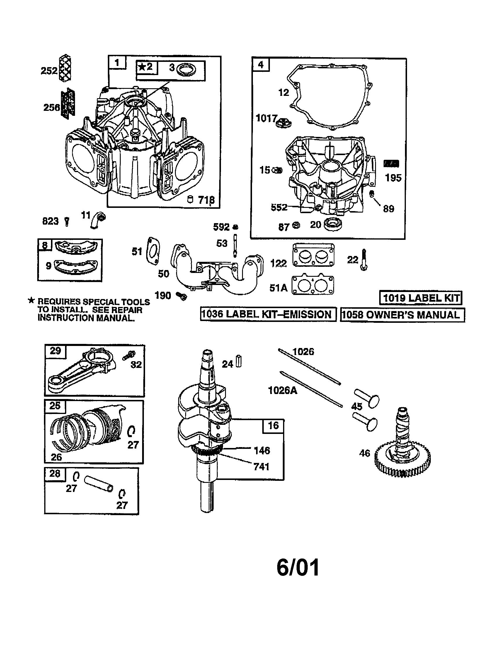 Briggs Stratton Engine Parts Model 4077770122e1