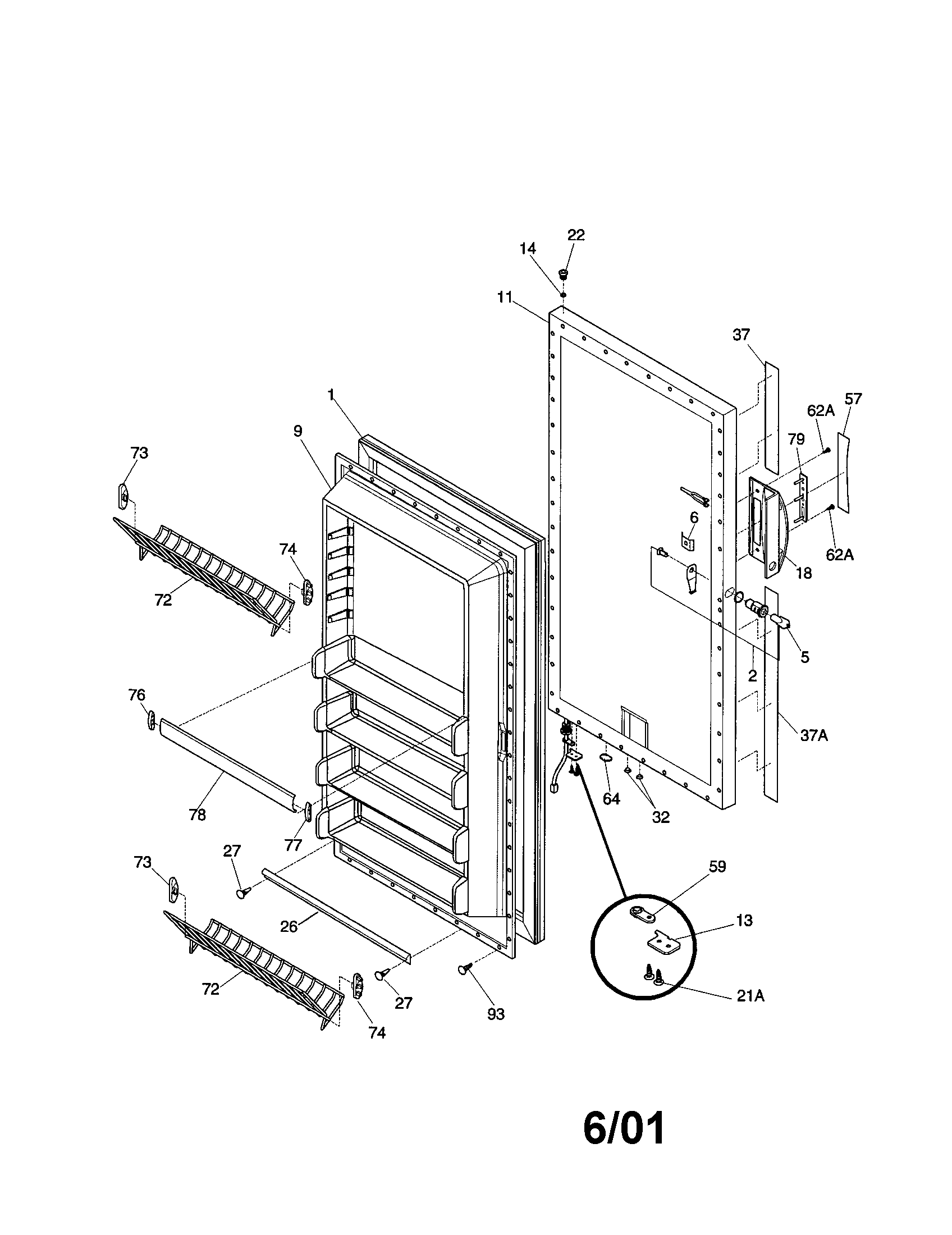 Kenmore 25321041100 door diagram