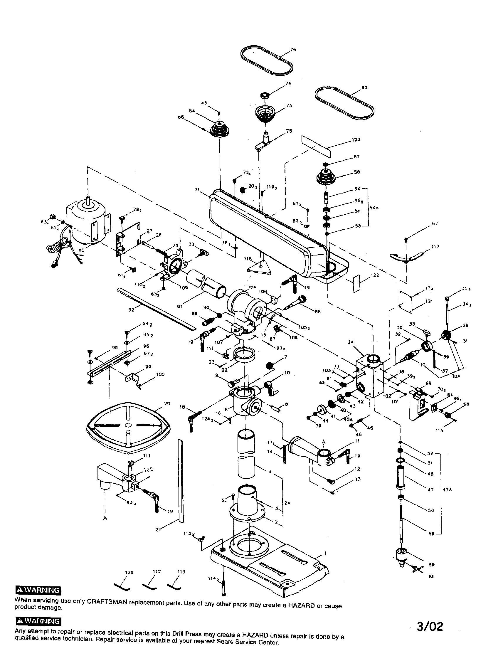 craftsman 34 u0026quot  drill press parts