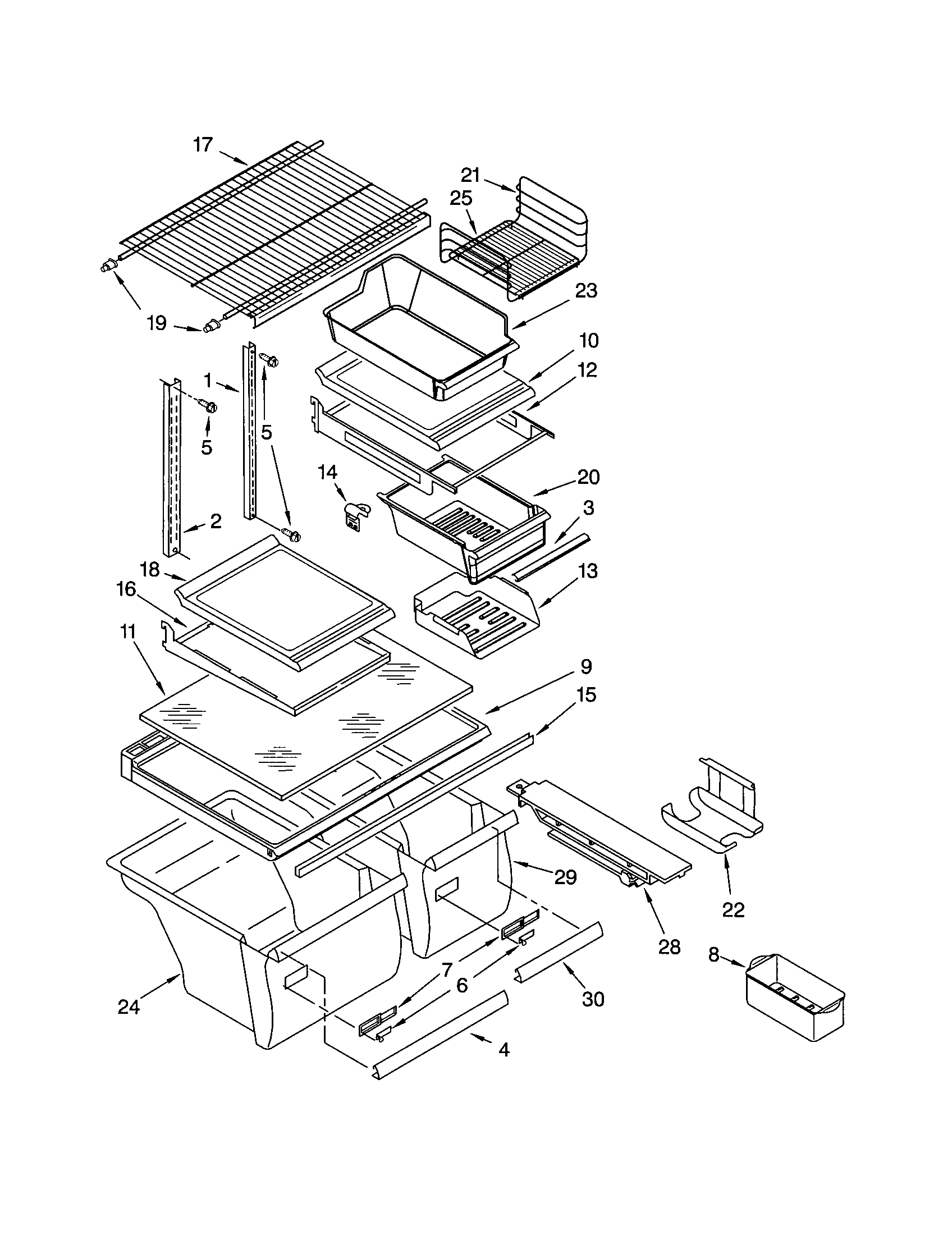 Kenmore 10672993201 shelf diagram