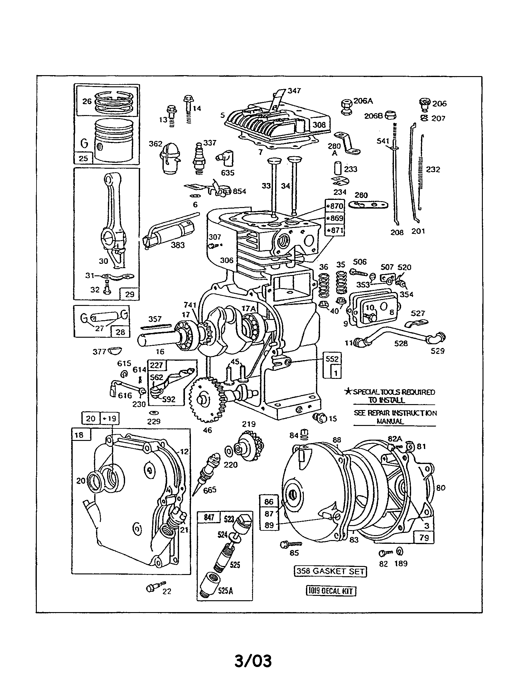 Briggs & Stratton 130200 TO 130299 (1575, 1601, 1602) cylinder head/crankcase/gearcase diagram