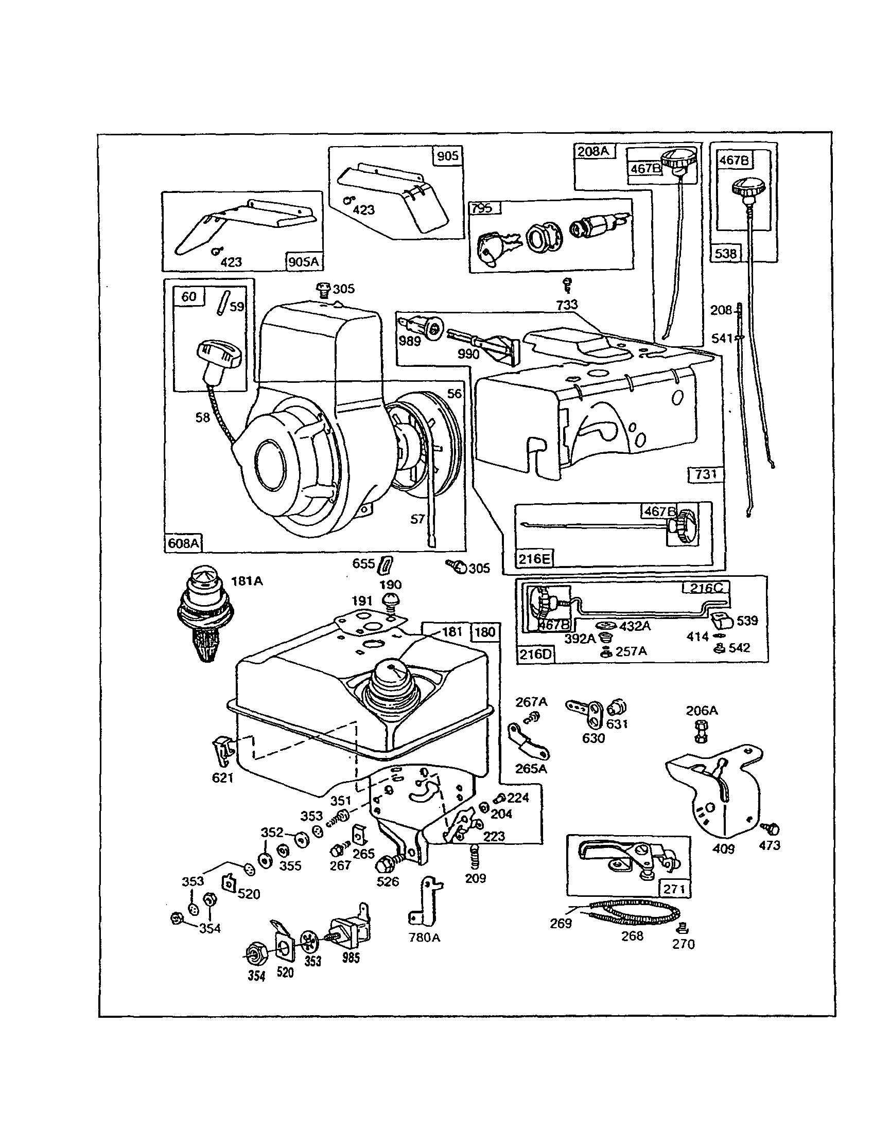 Briggs & Stratton 130200 TO 130299 (1575, 1601, 1602) starter-rewind/tank-fuel diagram