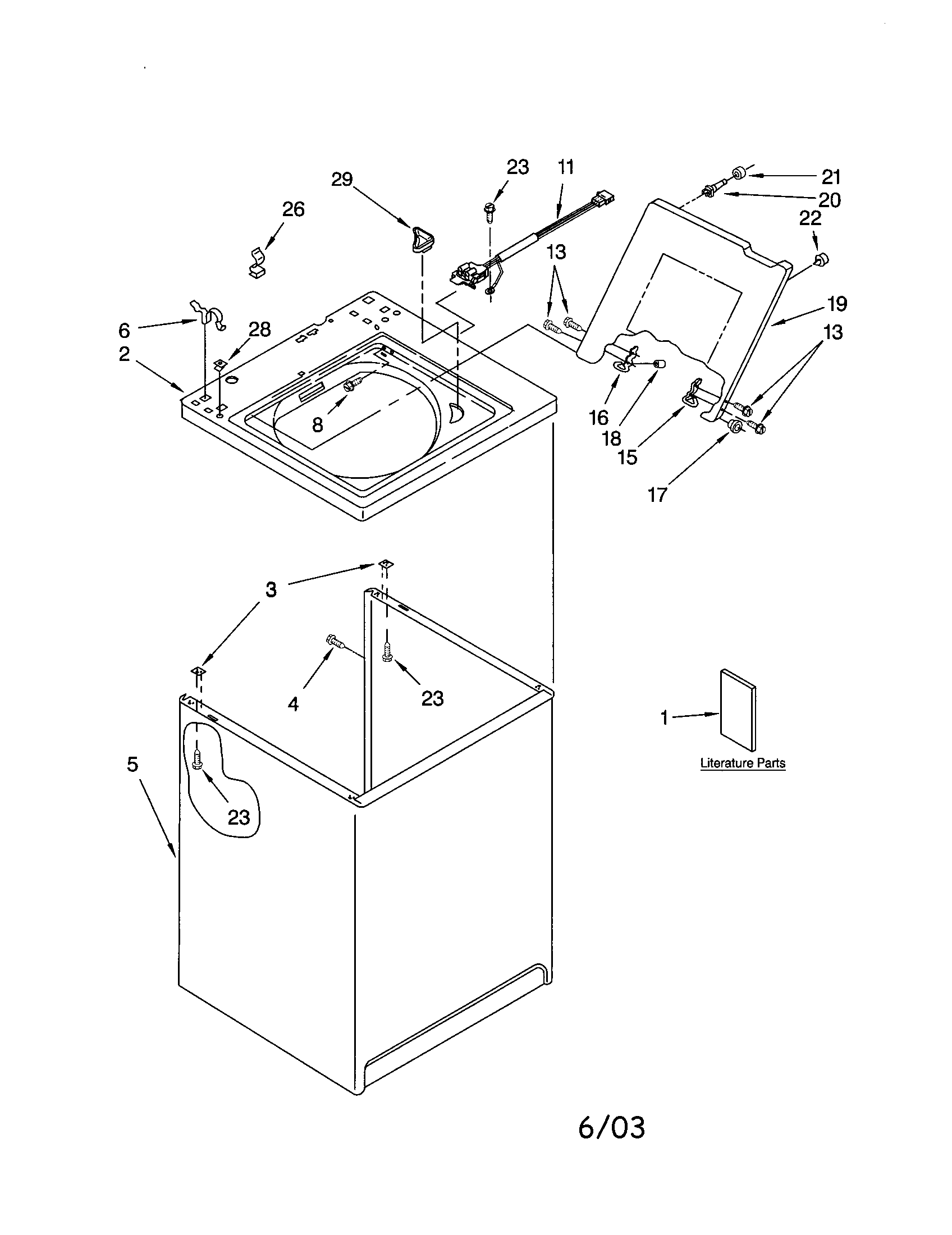 Kenmore 11024642300 top and cabinet diagram