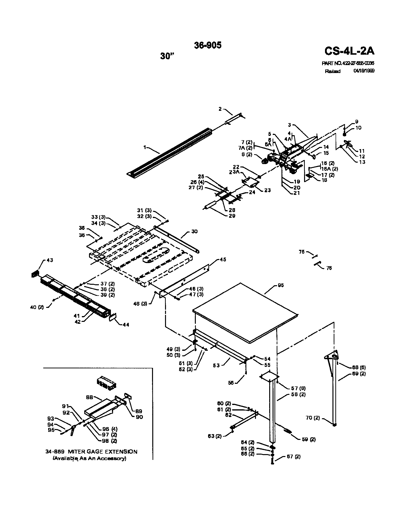 """Delta 34-440 (88J00000) 30"""" unifence with rail diagram"""