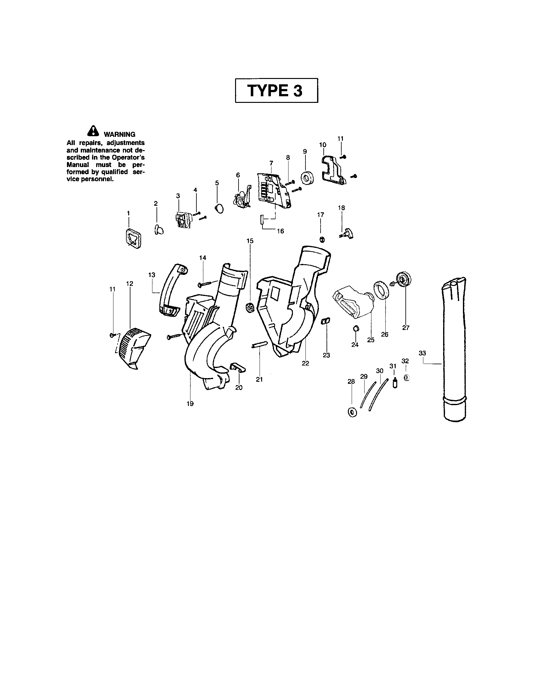 Poulan BVM200 TYPE 3 (RECON) blower tube/housing diagram