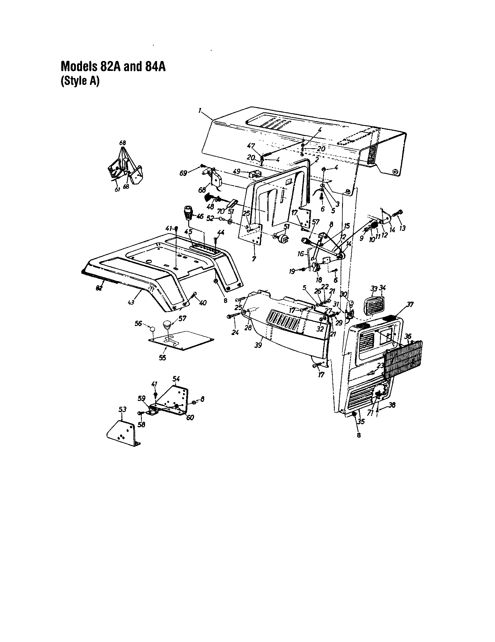 MTD 820 THRU 829 hood/grille - style a - 82a and 84a diagram