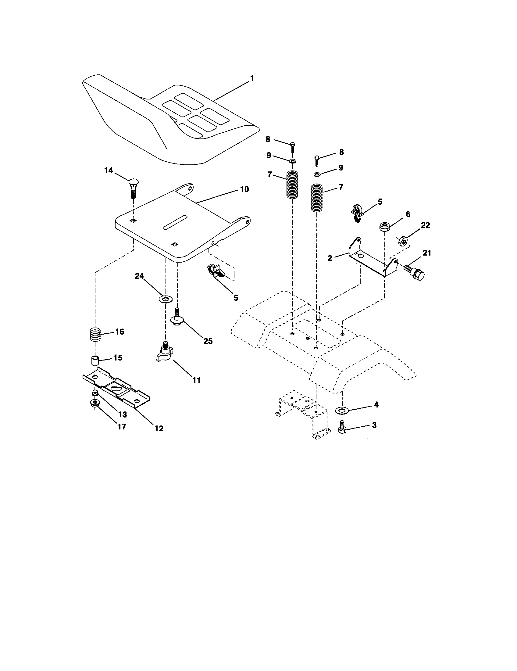 Craftsman 917275820 seat assembly diagram