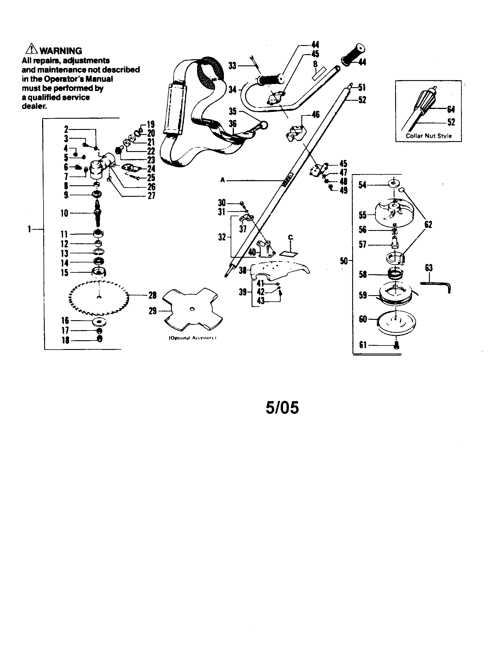 Weed Eater XR-90 cutting head and driveshaft diagram