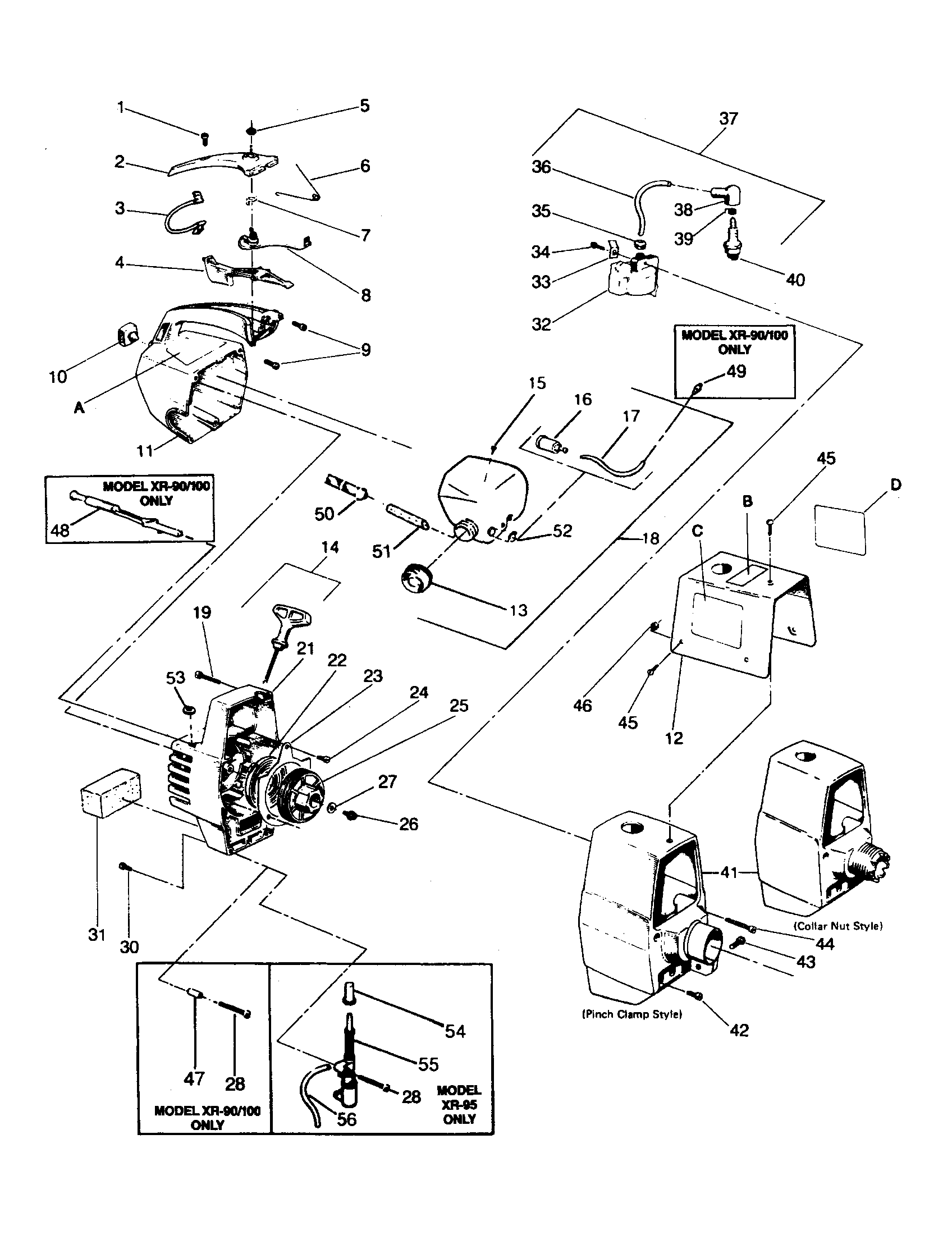 Weed Eater XR-90 starter and shroud diagram