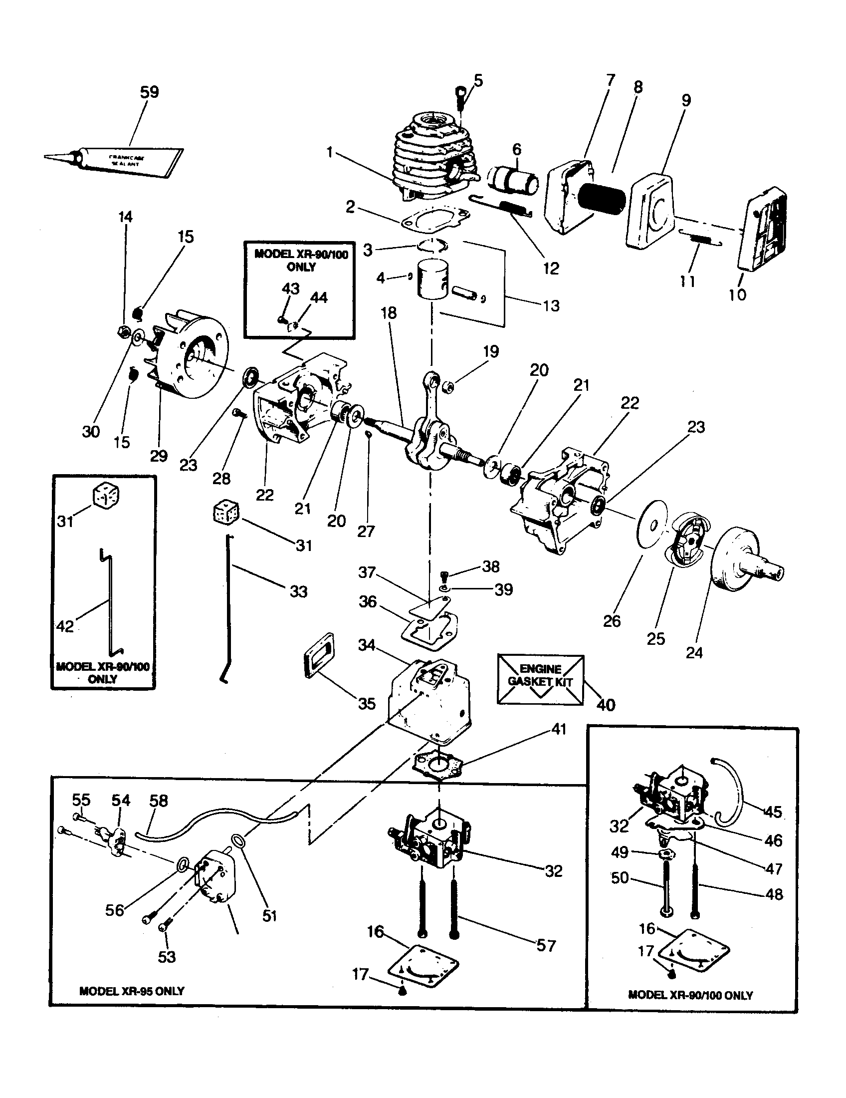Weed Eater XR-90 power unit diagram