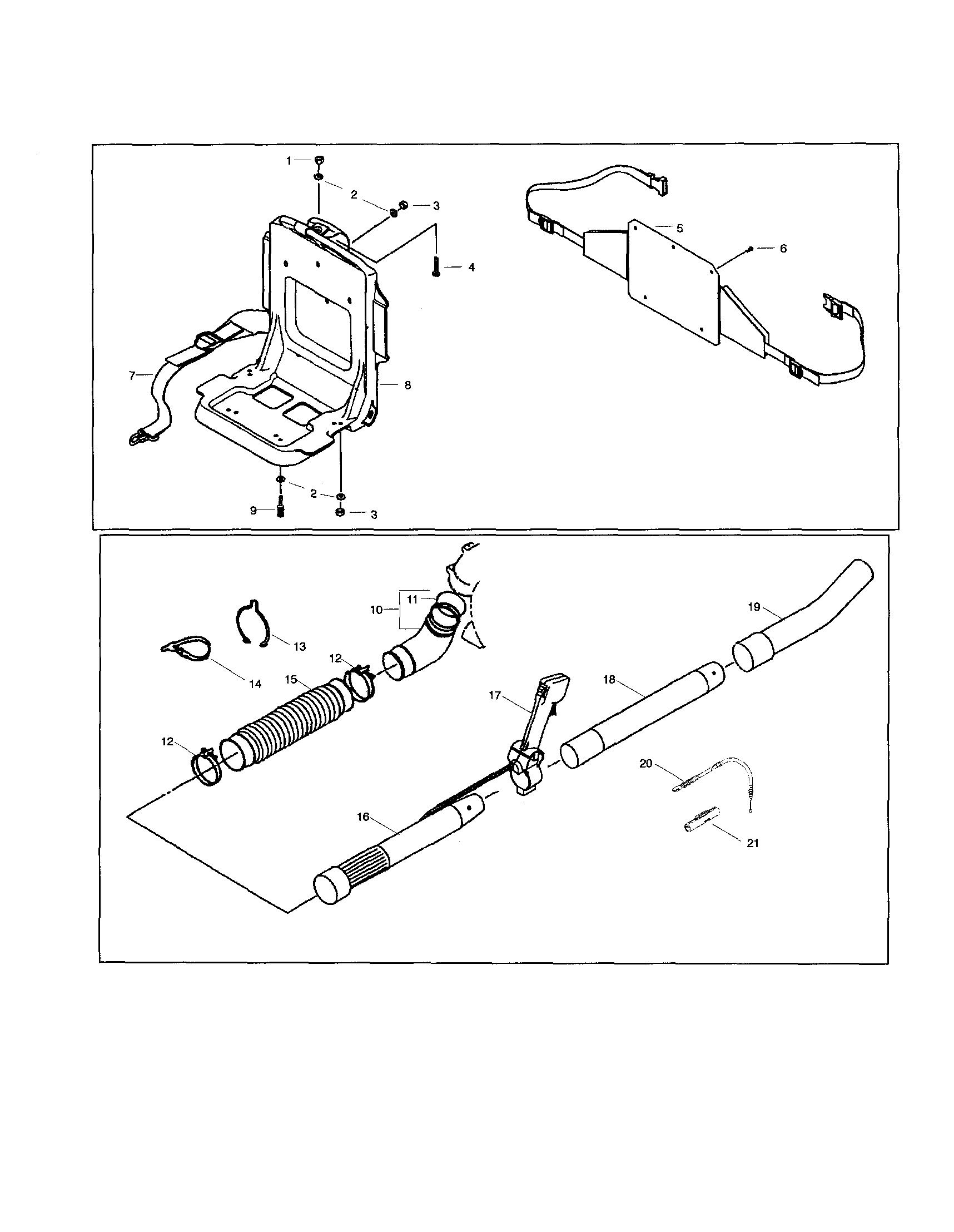 Poulan  Gas Blower  Knapsack frame/case/pipes