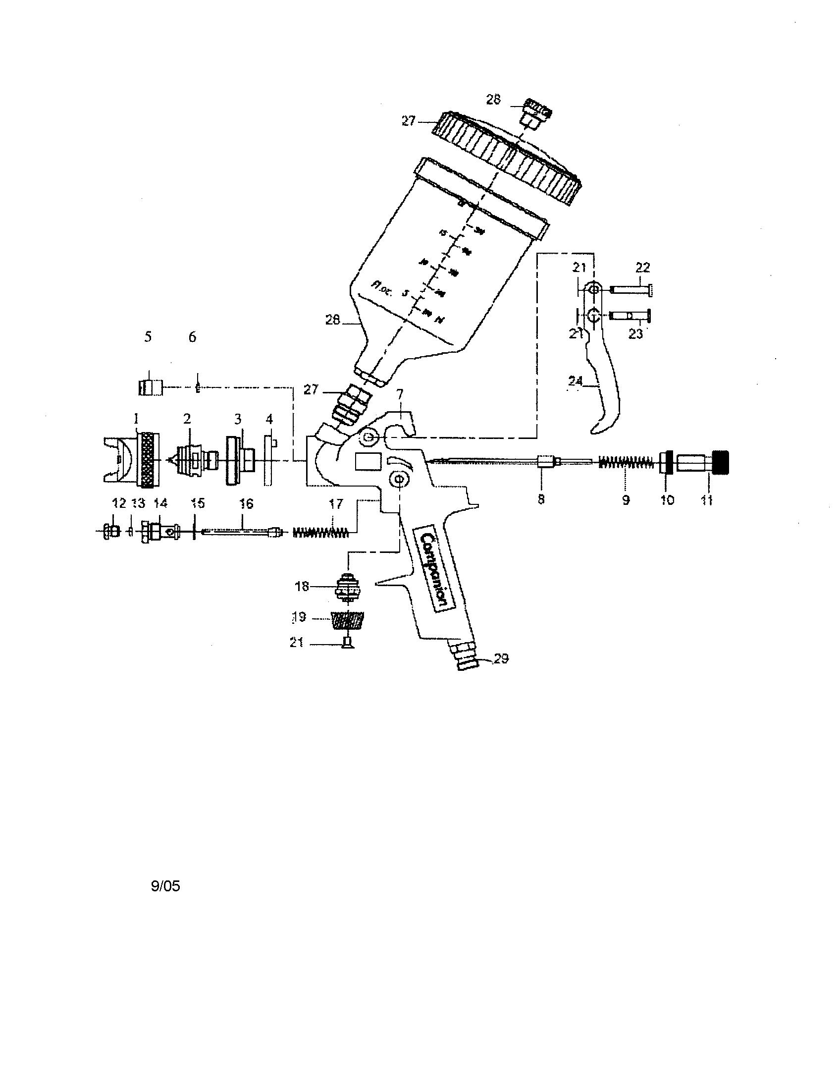 Hvlp Spray Gun Parts Diagram | Companion Model 875181180 Spray Gun Genuine Parts
