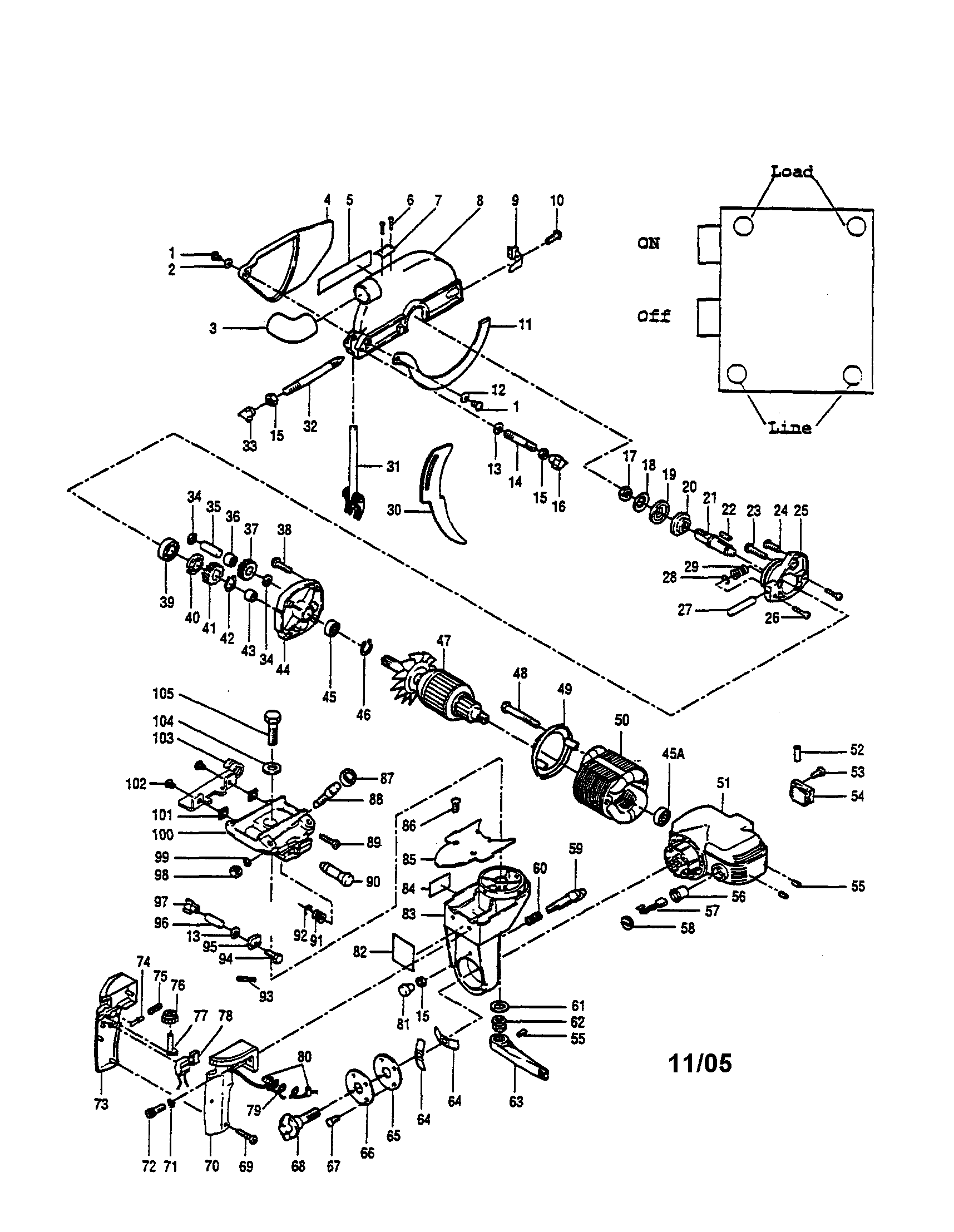 Ryobi RA-202 blade guard/armature/motor housing diagram