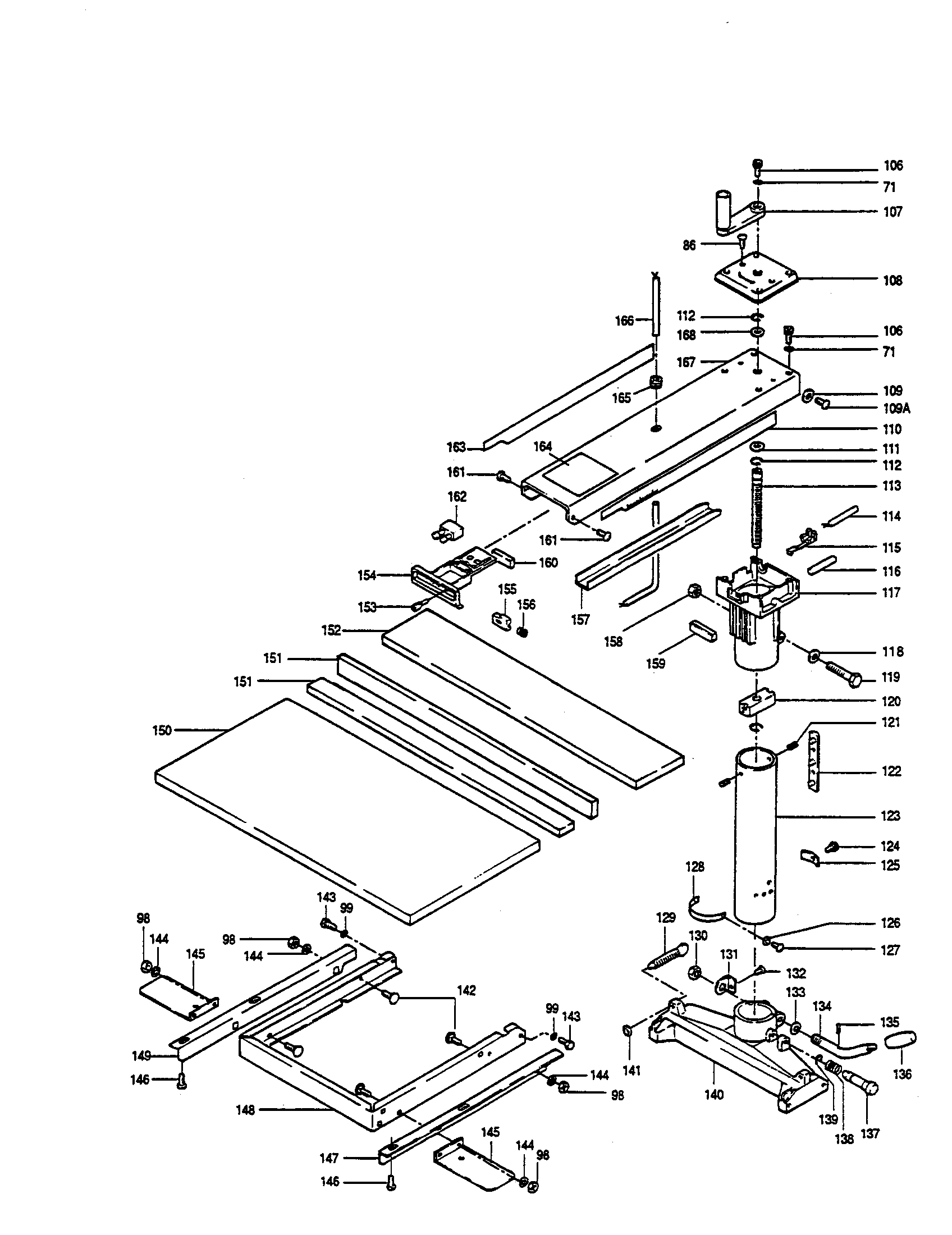 Ryobi RA-202 main table / base diagram