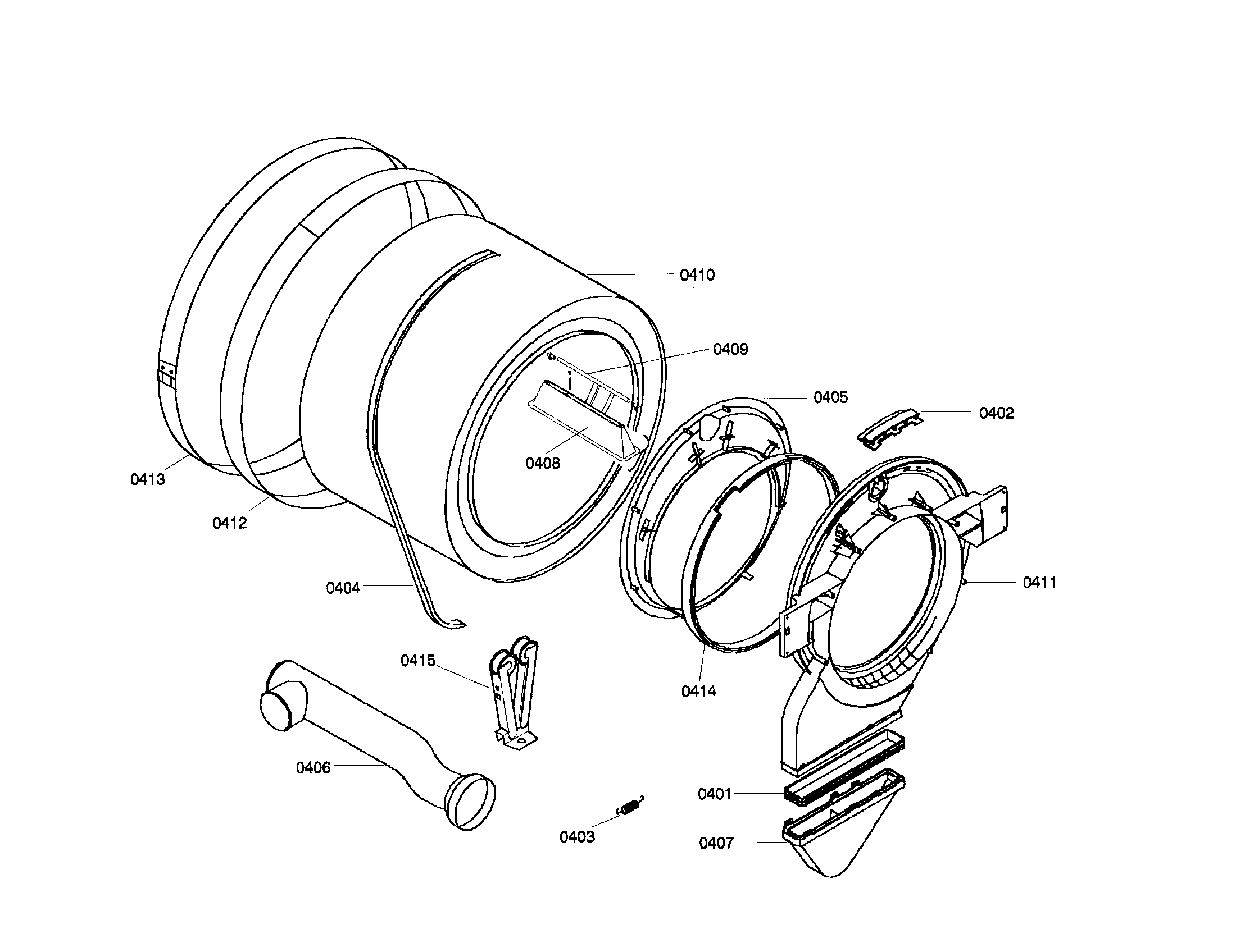 Bosch WTA4400US/01 drum assembly diagram
