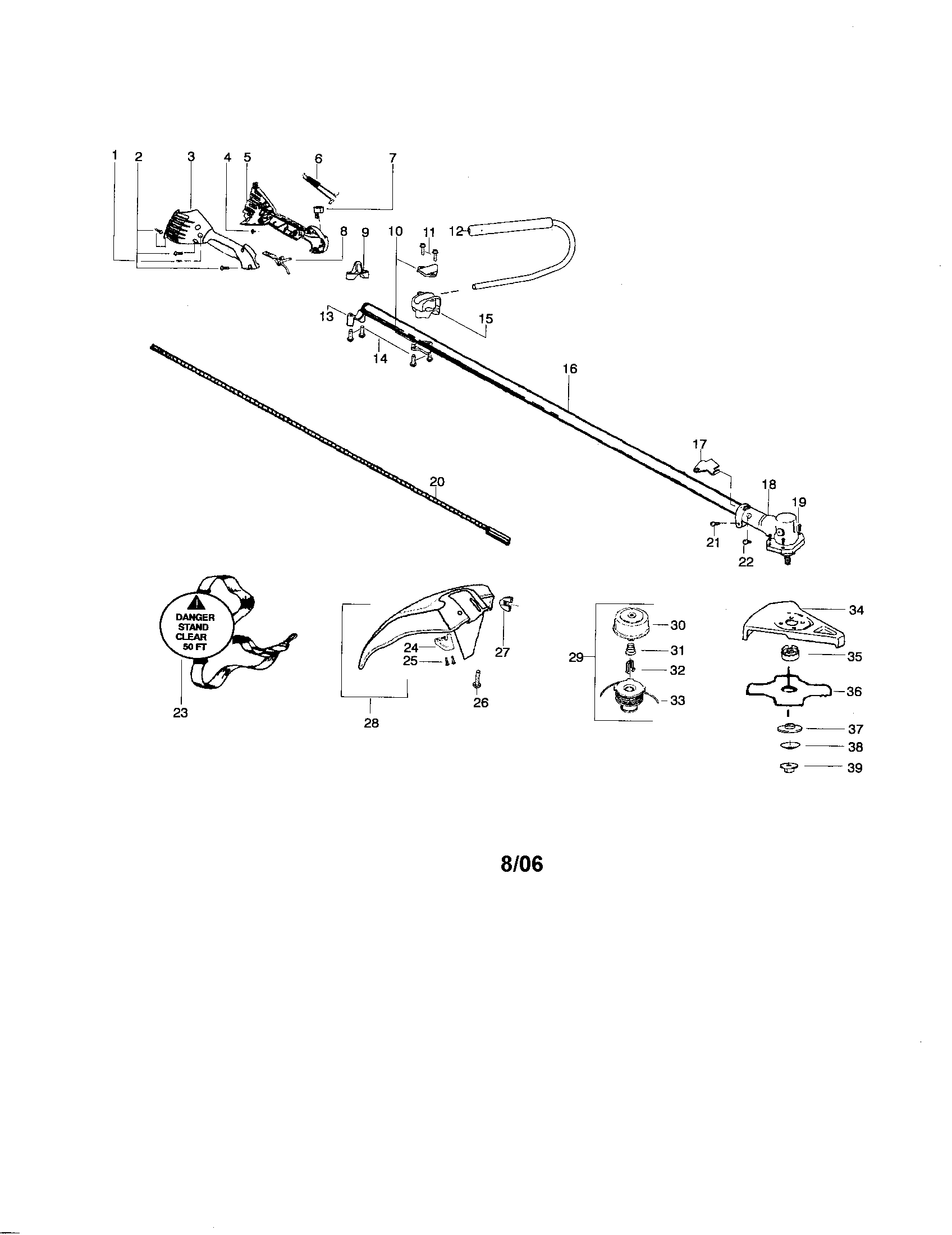 Weed Eater BC3150 driveshaft/shield/handlebar diagram