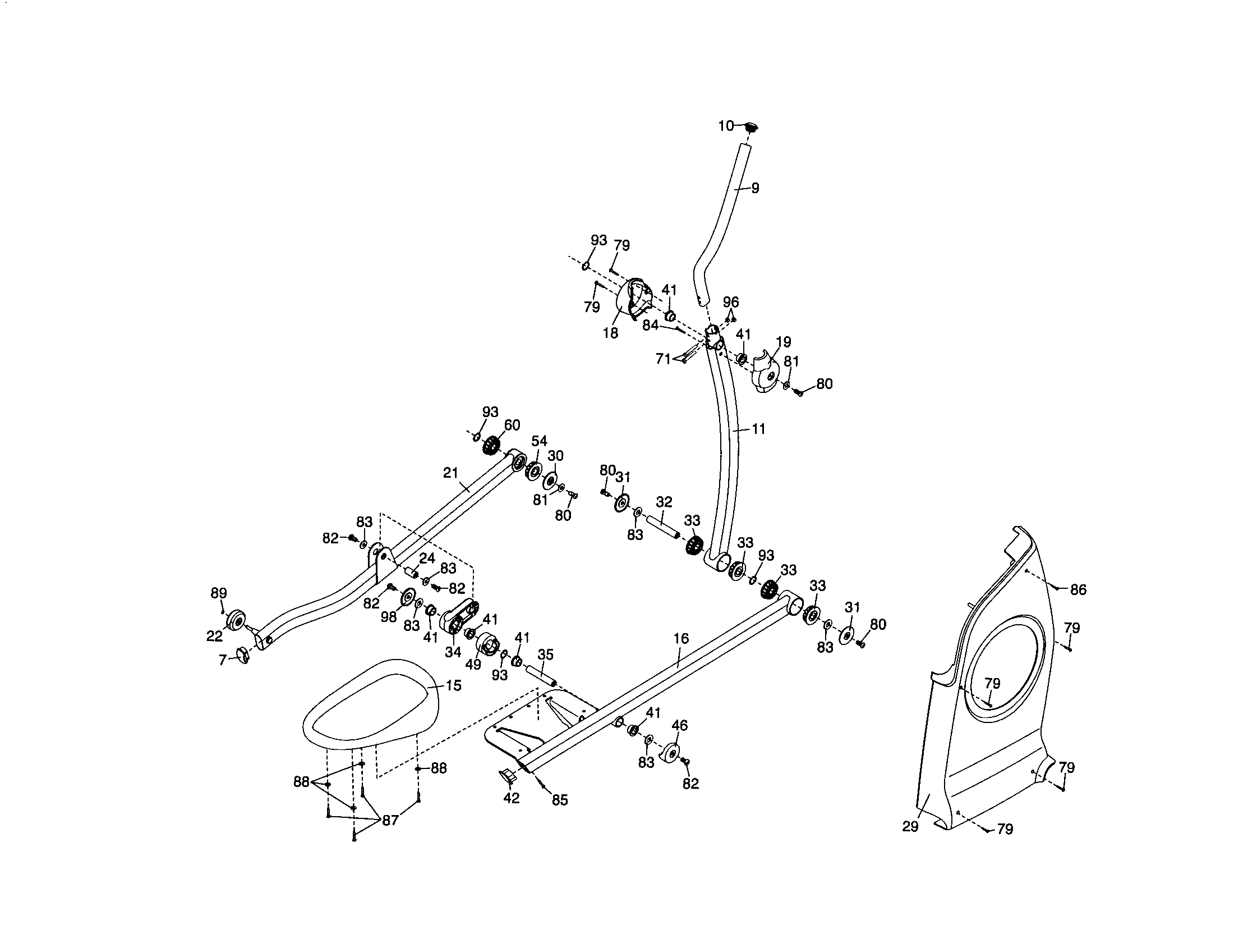 Proform 831237450 right pedal/side shield/upright diagram