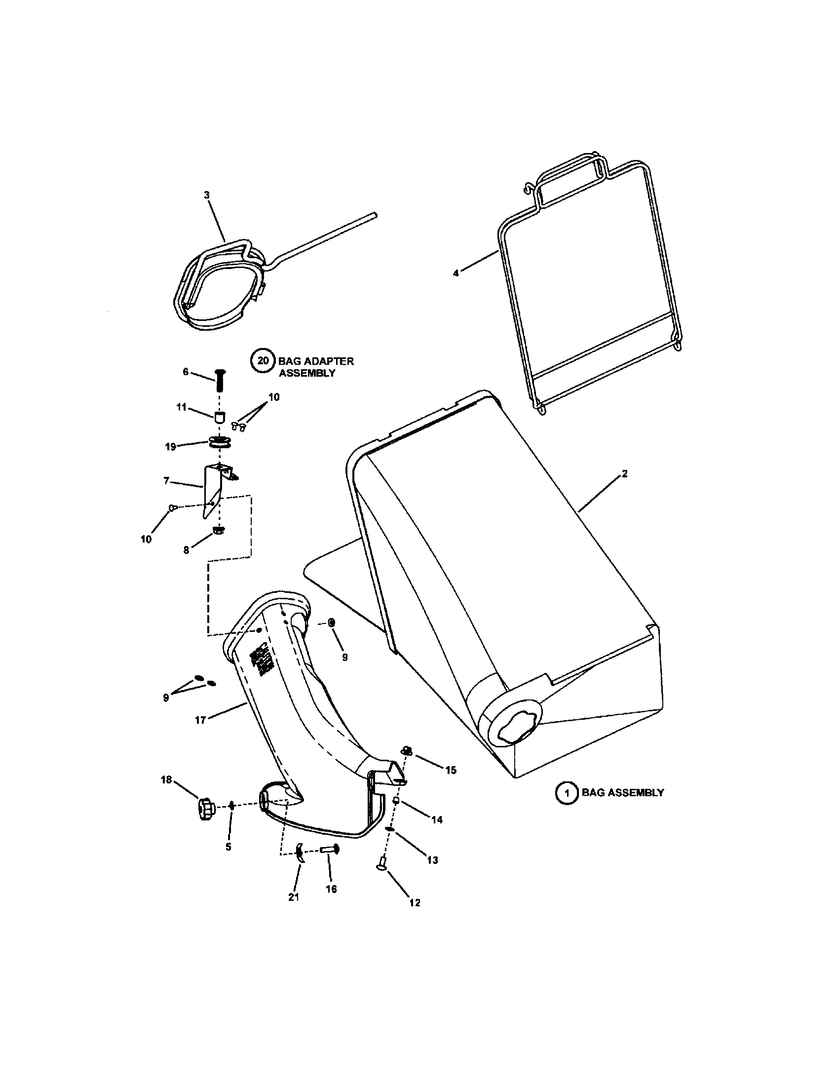 Snapper  Lawn Mower  Bagging components