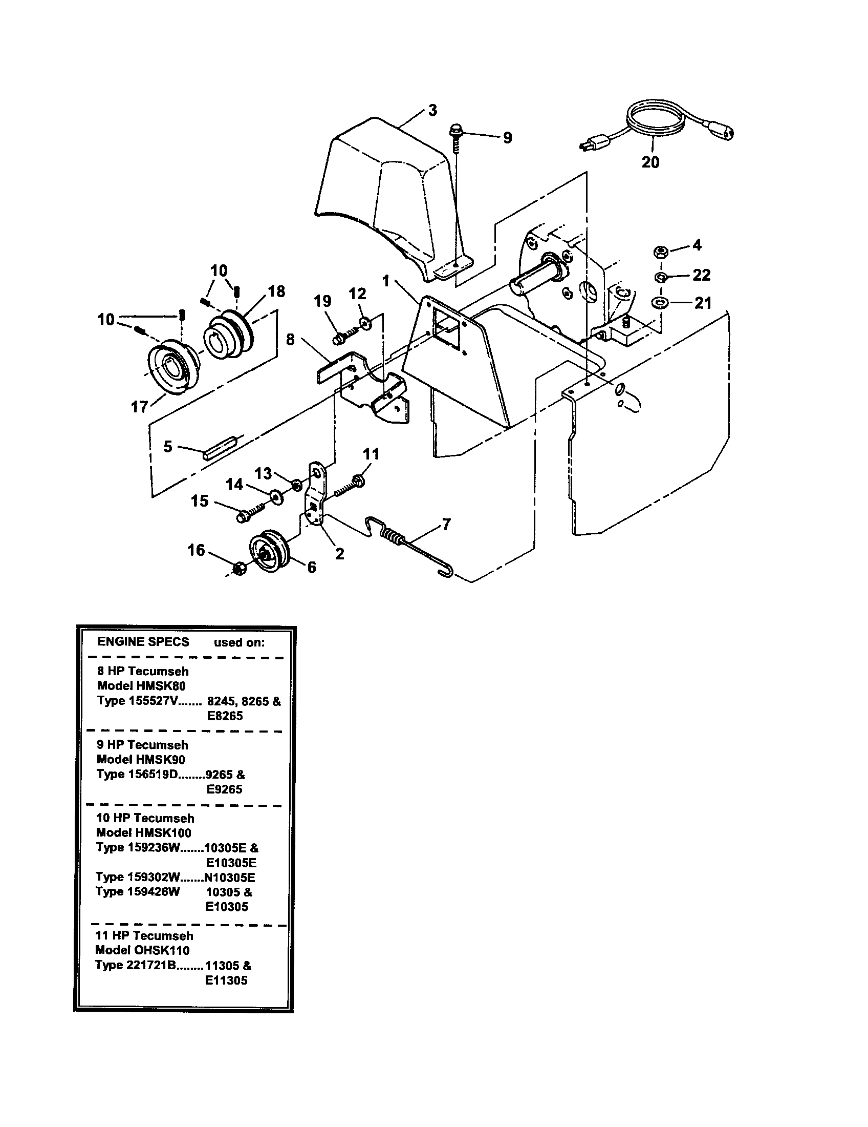 Snapper 8245 engines/pulley/idler diagram
