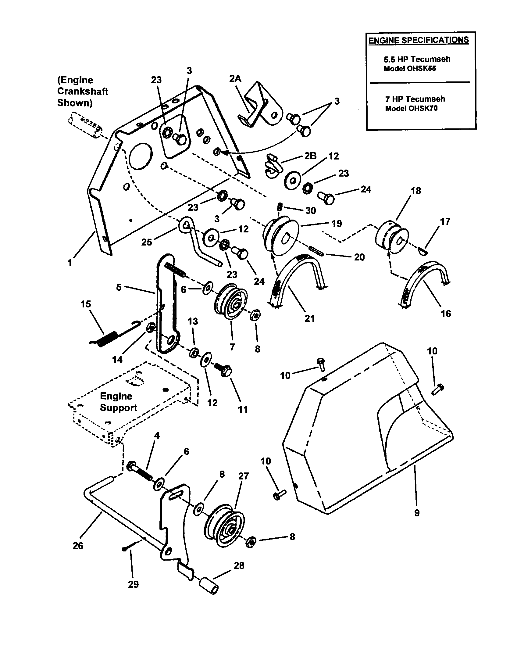 Snapper  Snow Thrower  Engine/pulleys/idler/clutch system