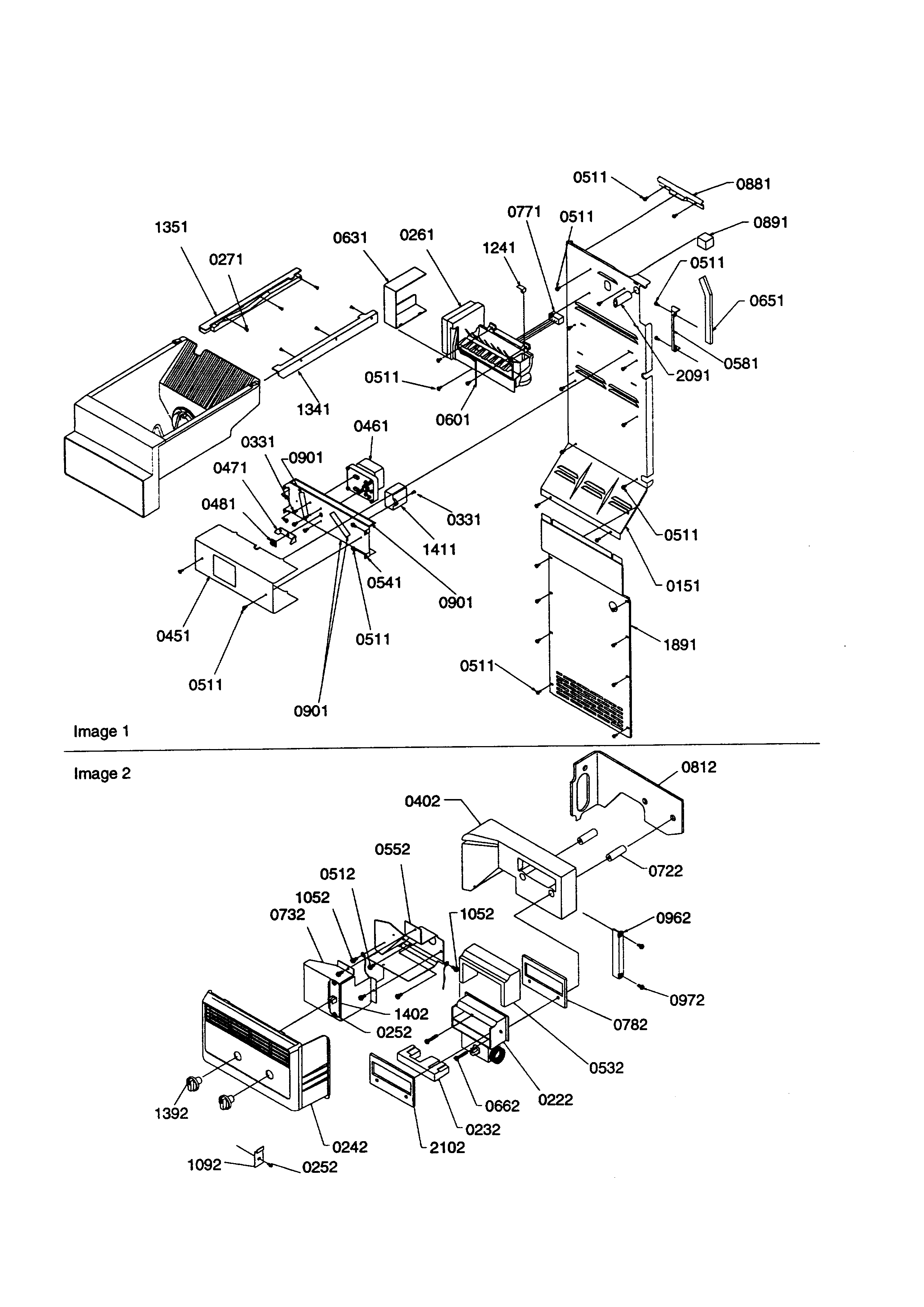 Kenmore 59658642890 ice maker/control assembly diagram