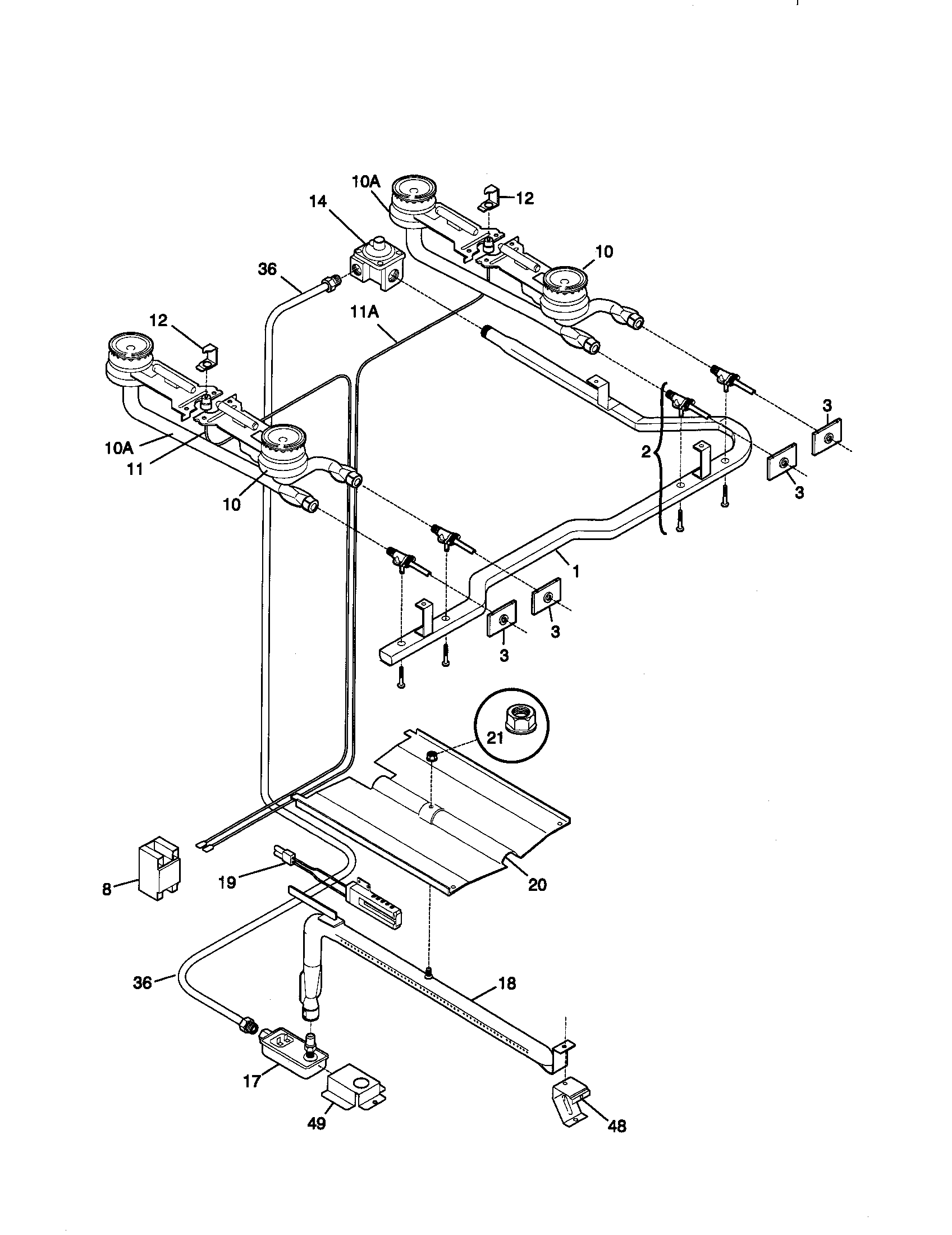 Kenmore 79071106892 burner diagram