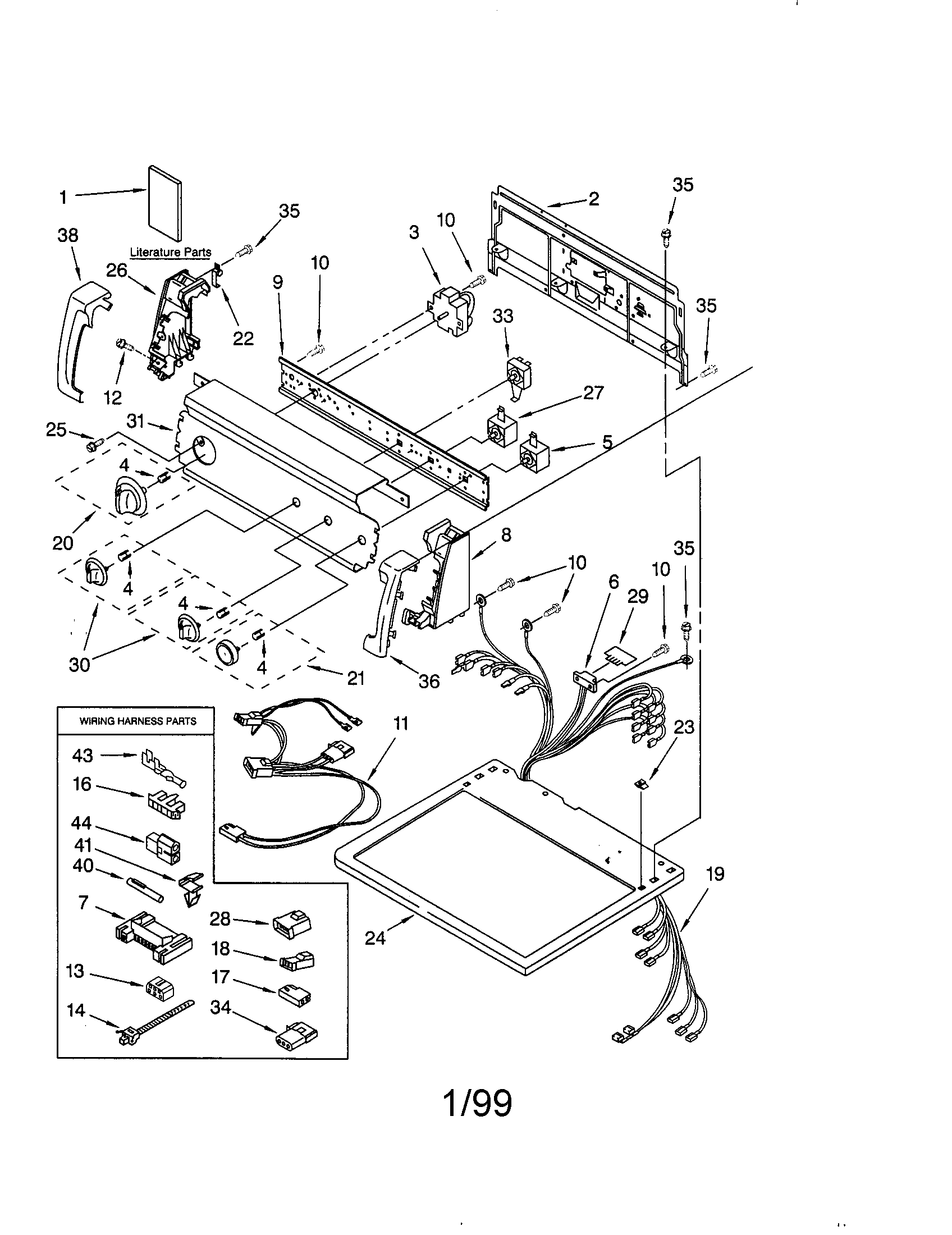 Kenmore 11079902890 top and console diagram