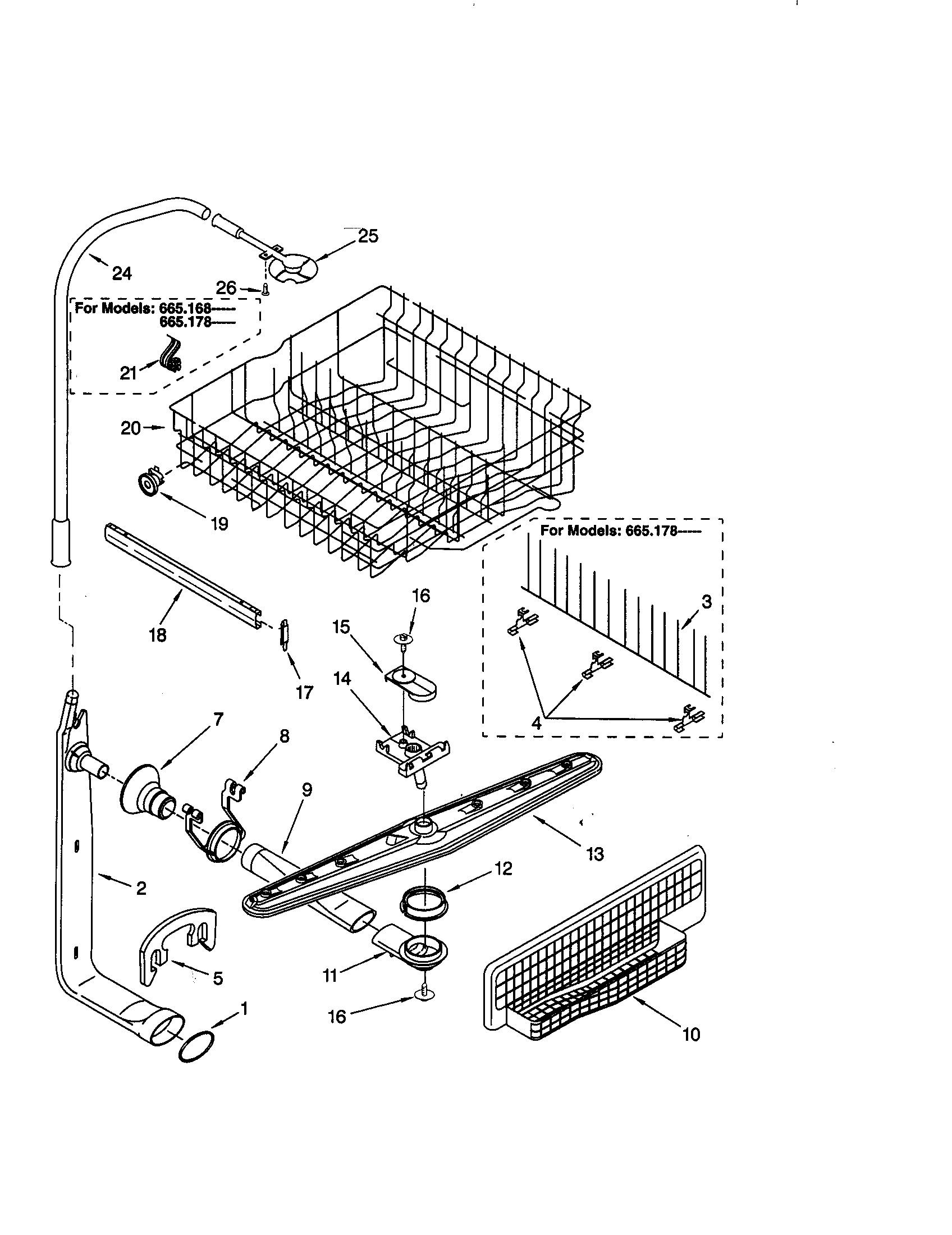 Kenmore 66515805890 upper dishrack and water feed diagram