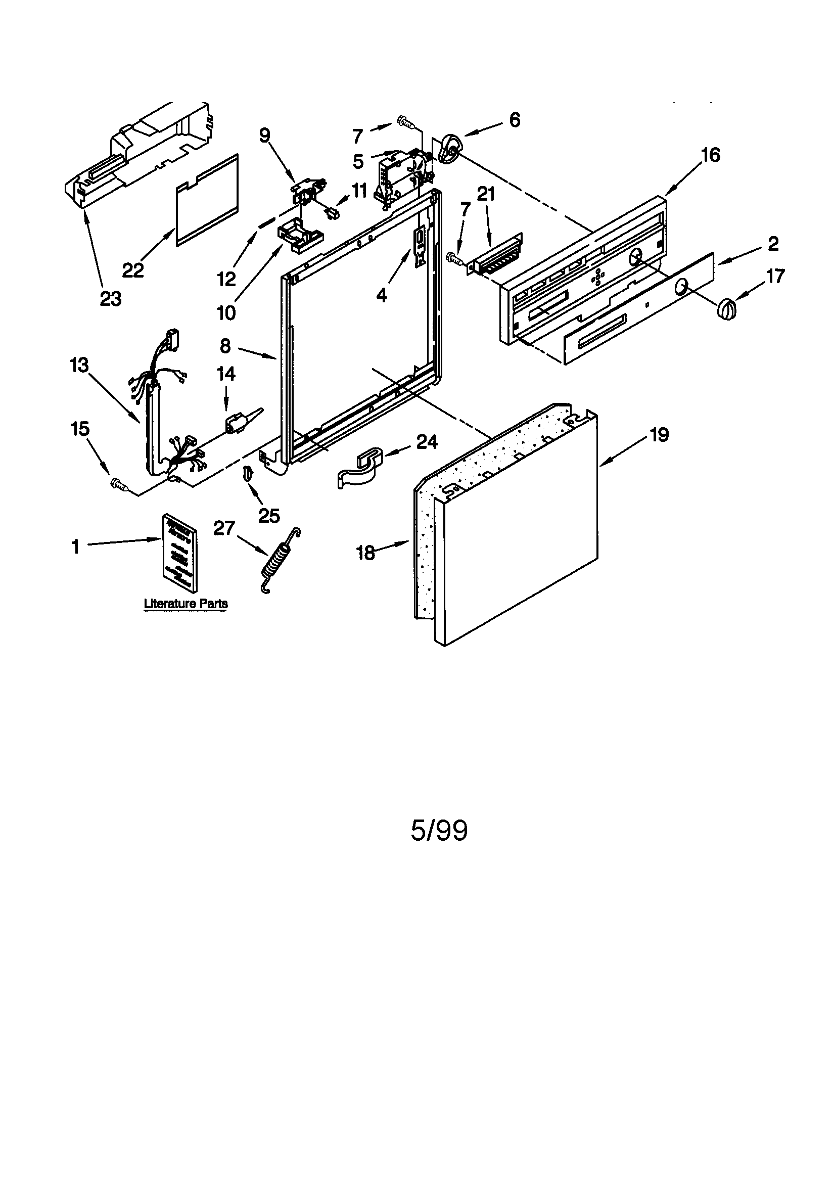 Kenmore 66515669990 frame and console diagram