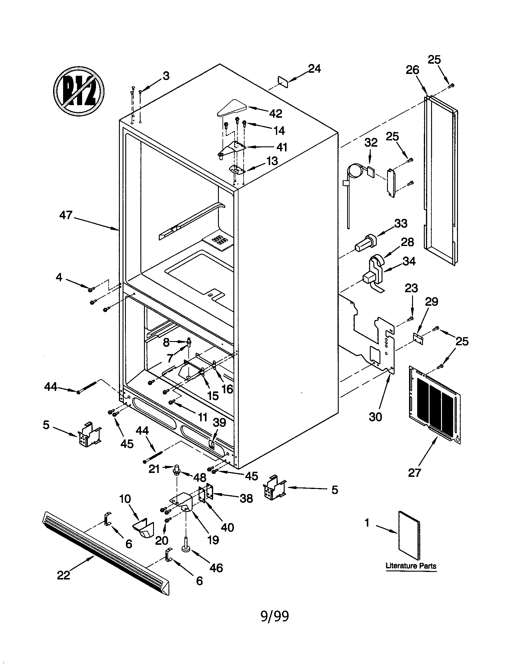 KitchenAid KBRS22KGWH1 cabinet diagram