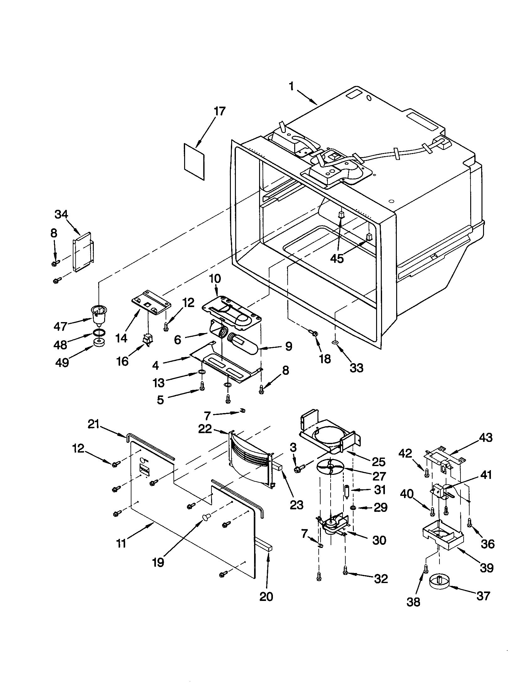 KitchenAid KBRS22KGWH1 freezer liner diagram