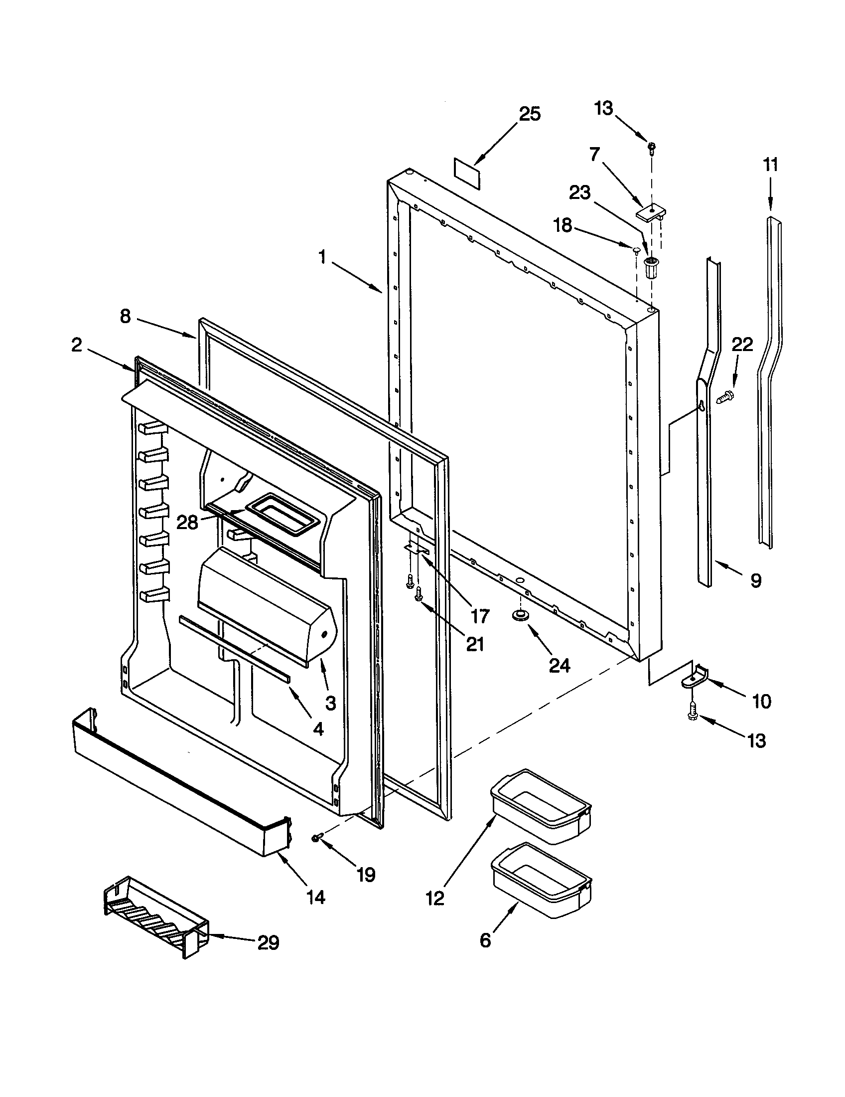 KitchenAid KBRS22KGWH1 refrigerator door diagram