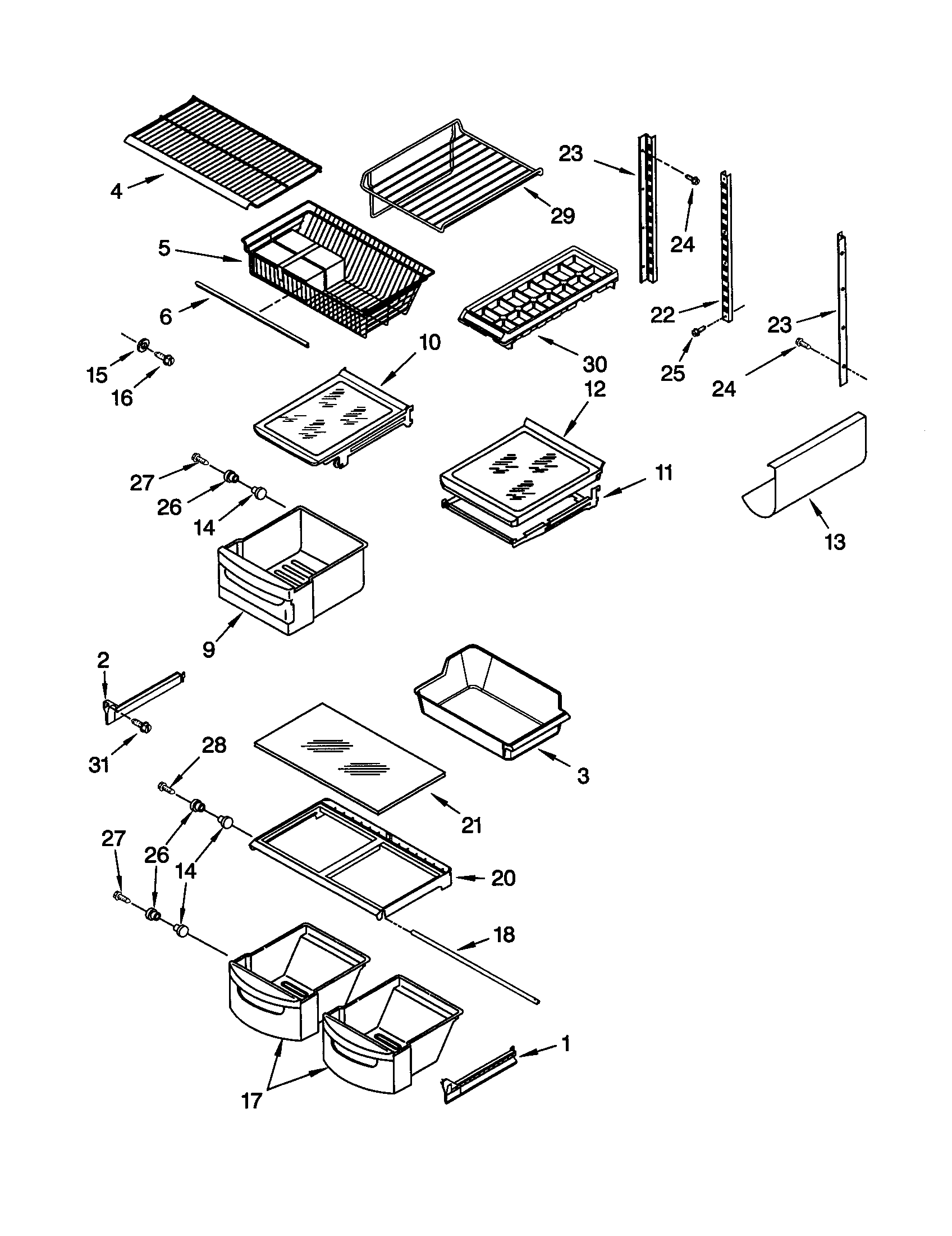 KitchenAid KBRS22KGWH1 shelf diagram