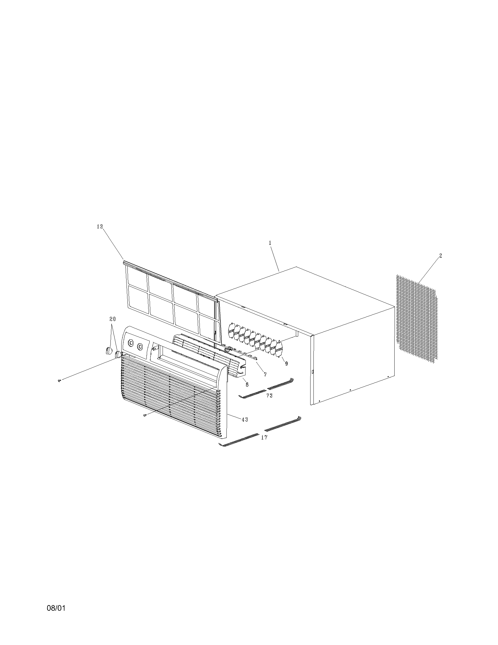 Frigidaire FAH106J1T2 cabinet front and wrapper diagram
