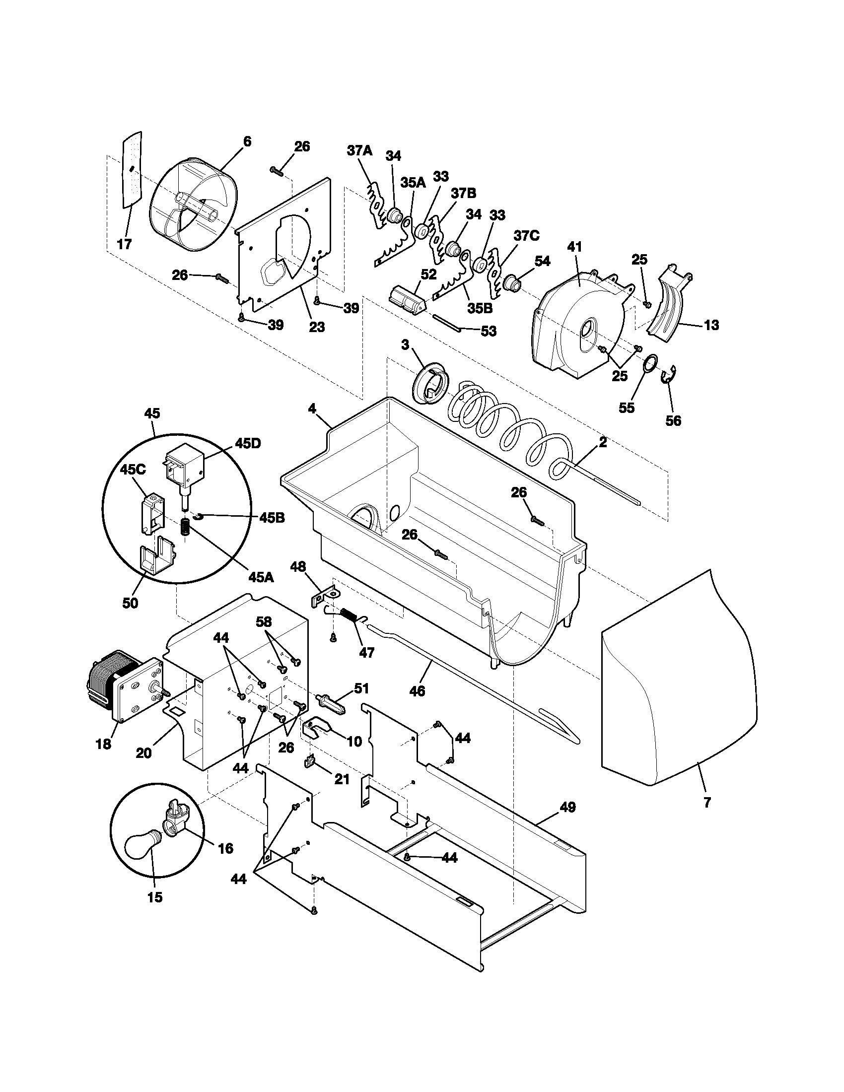 Kenmore 25352349303 ice container diagram