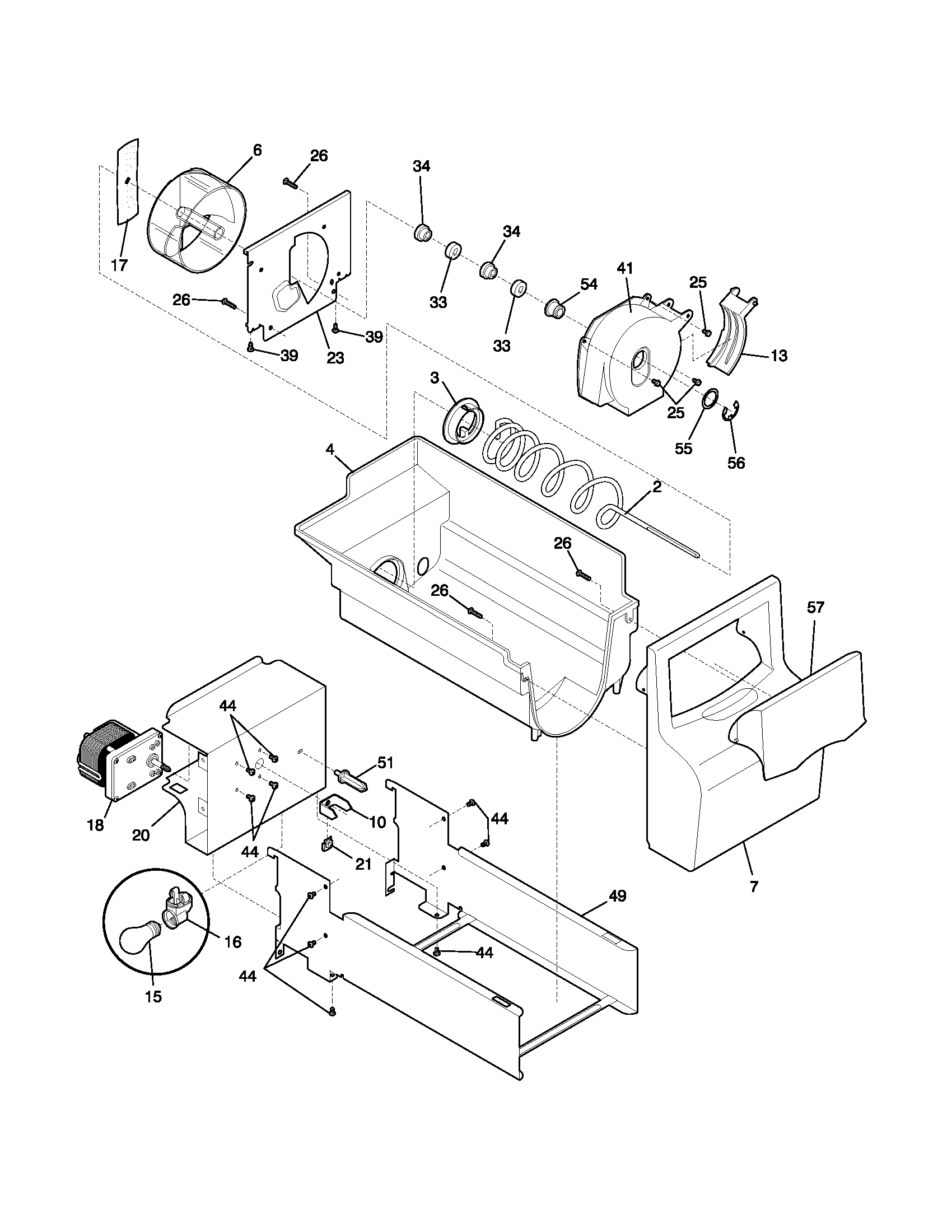 Frigidaire FRS26W2BSB9 ice container diagram