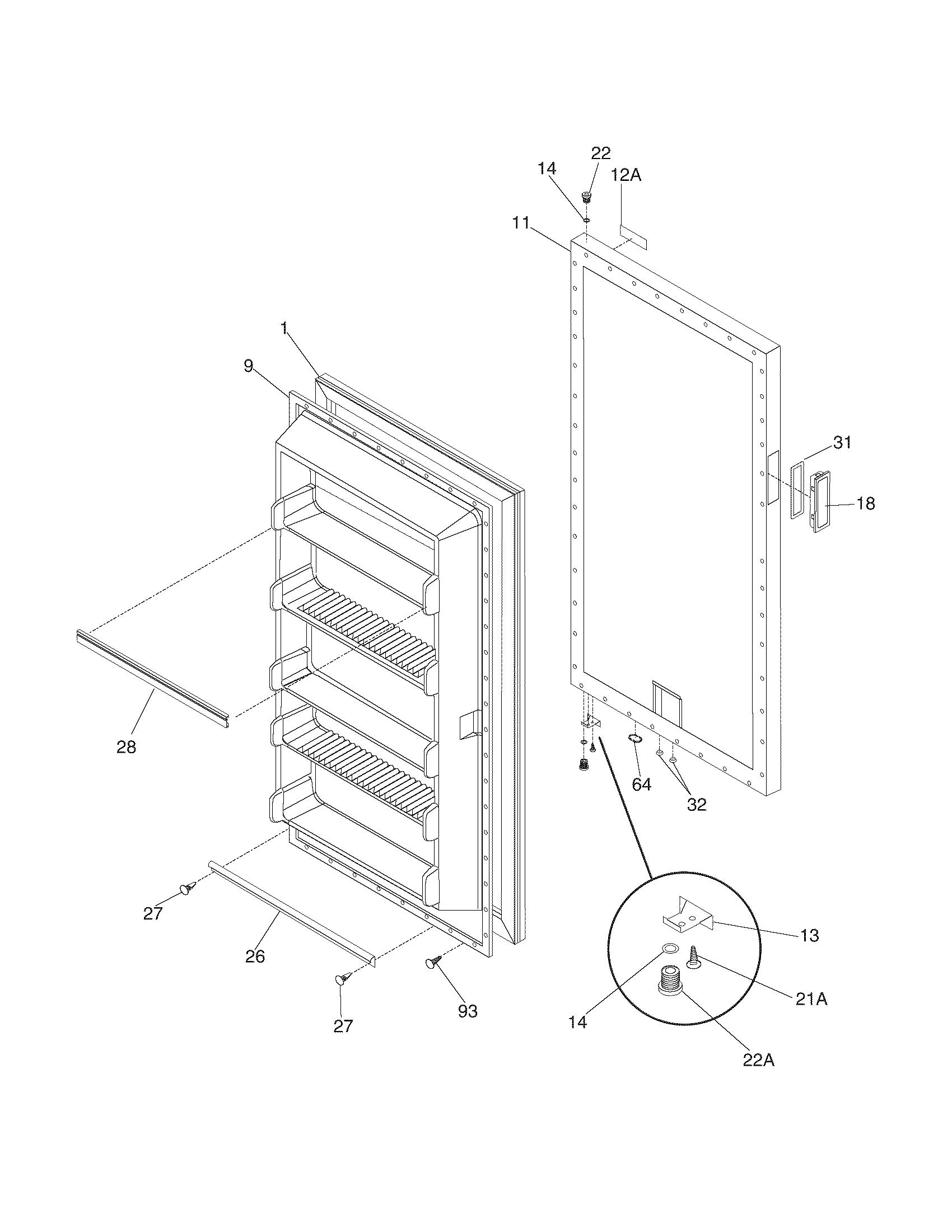 White-Westinghouse  Freezer  Door