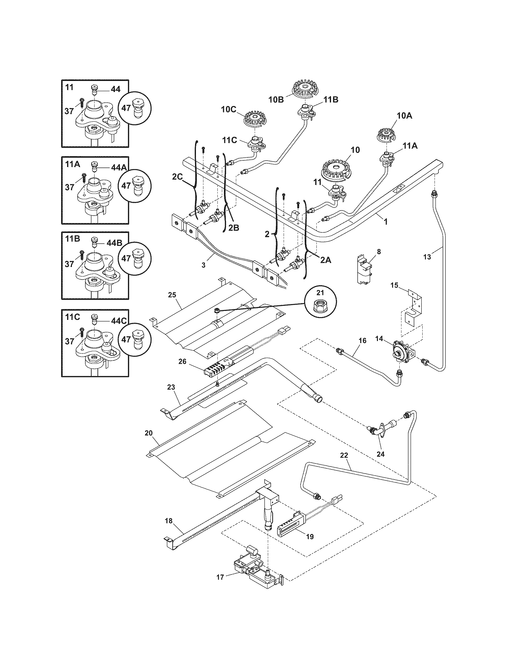 Kenmore 79078789404 burner diagram