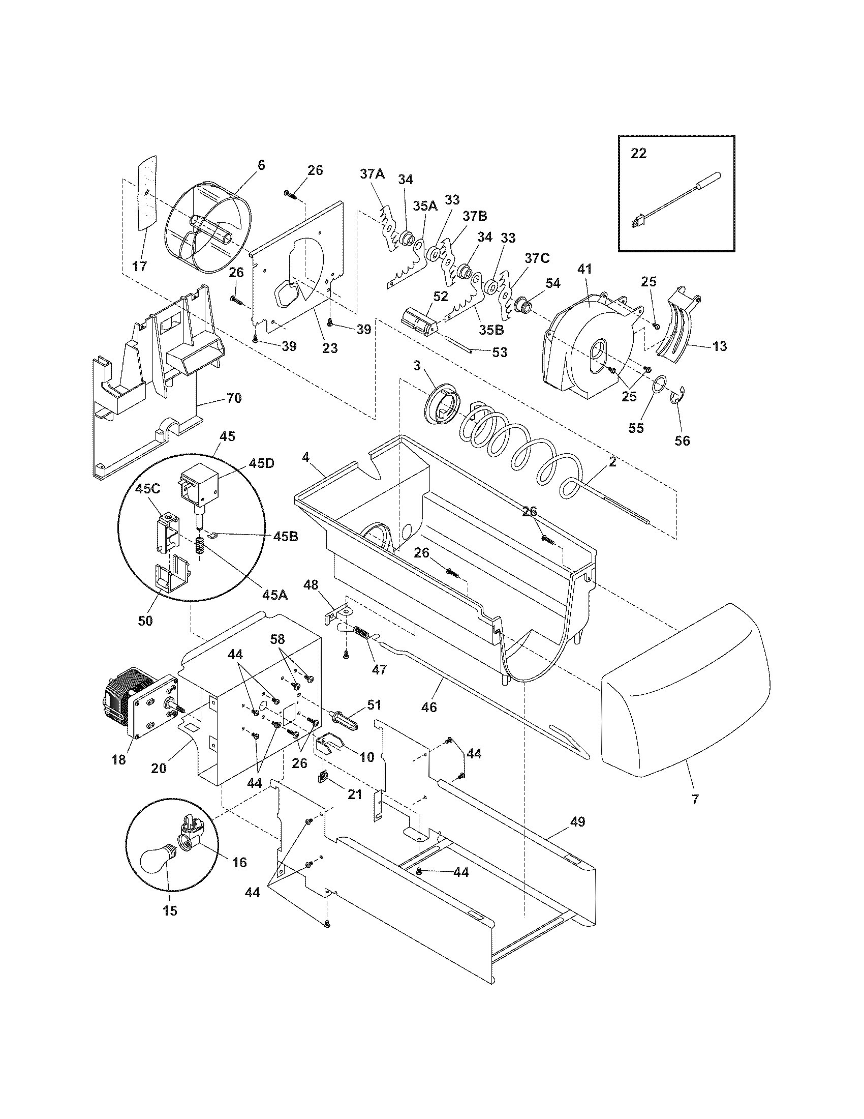 Kenmore 25354664407 ice container diagram