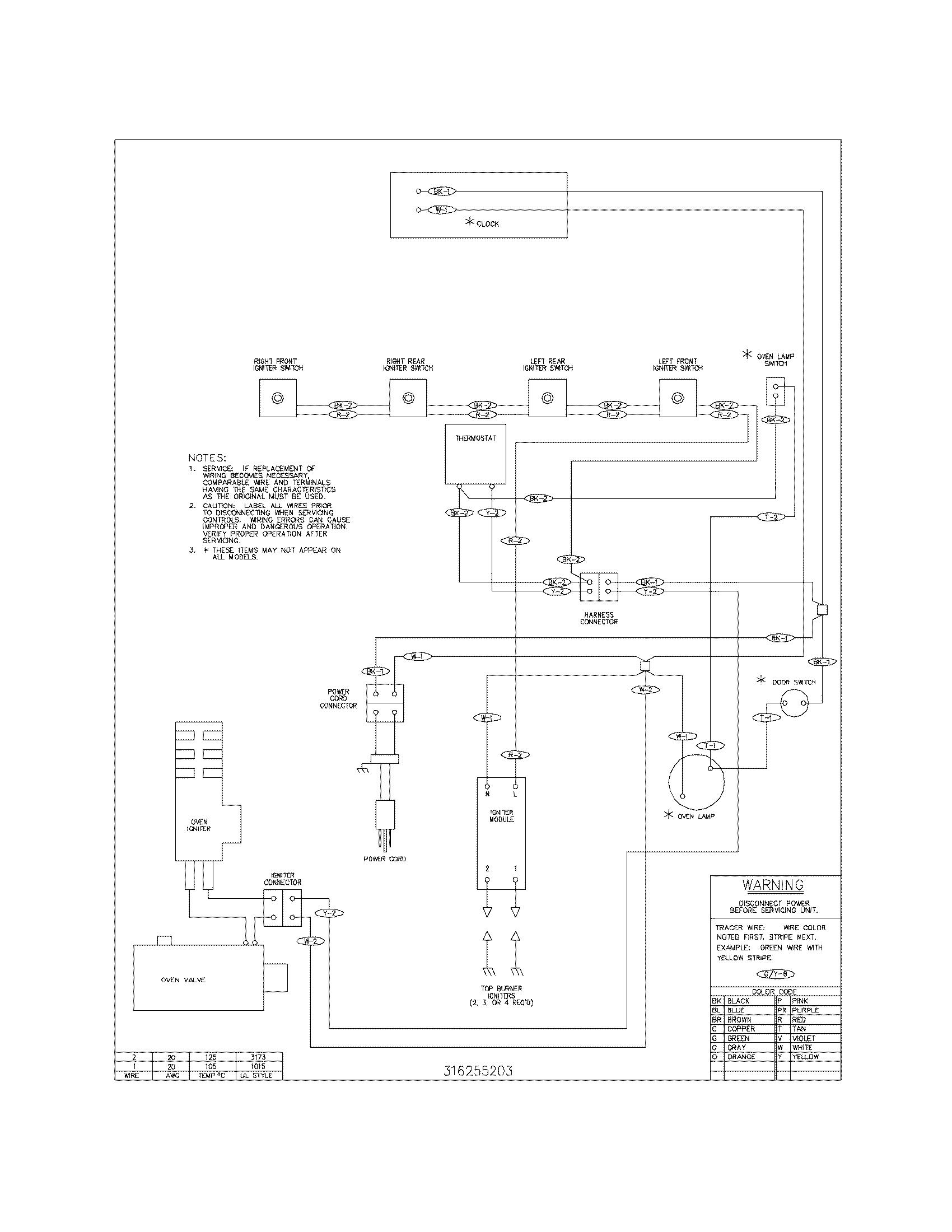 Tappan  Gas Range  Wiring diagram