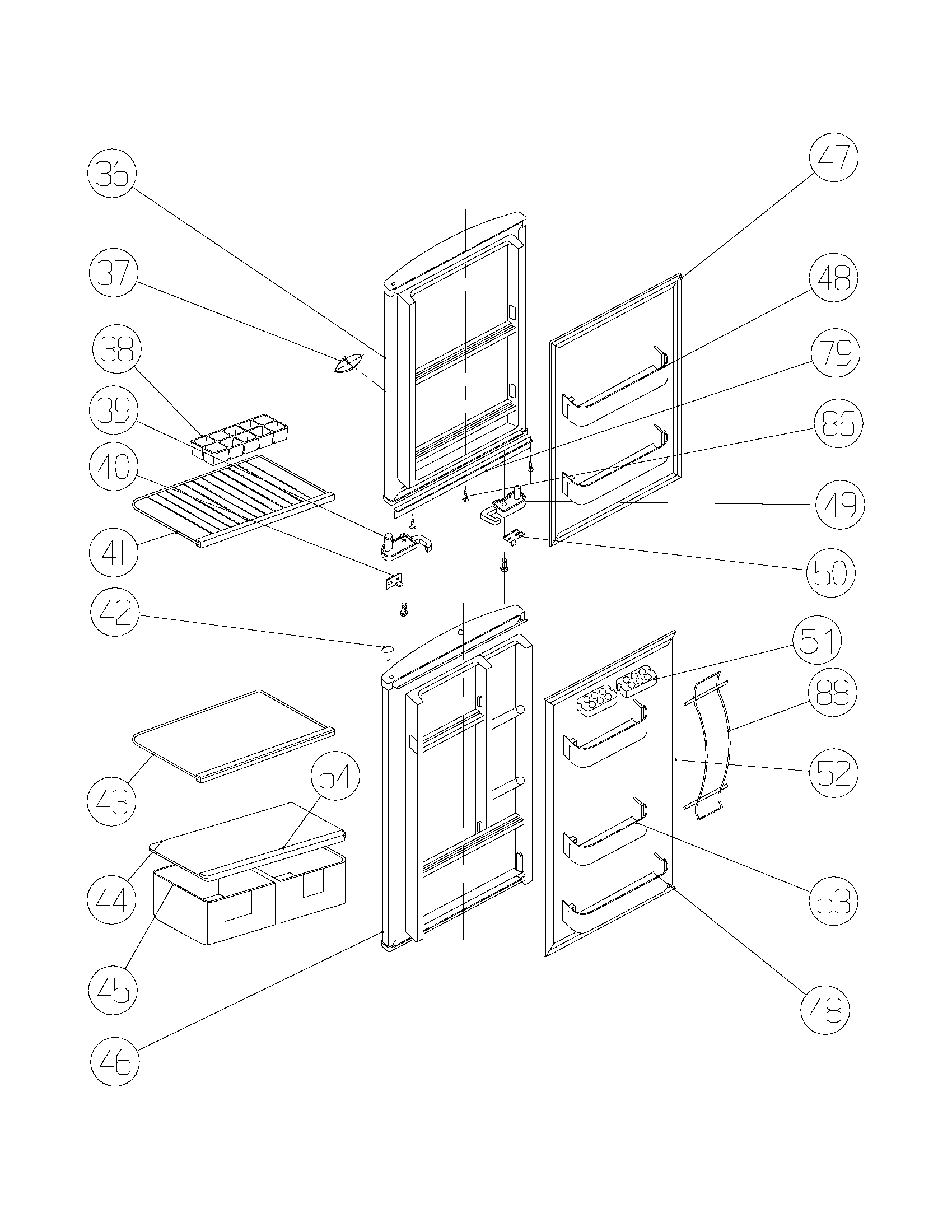 Frigidaire FRT124FWK0 door diagram