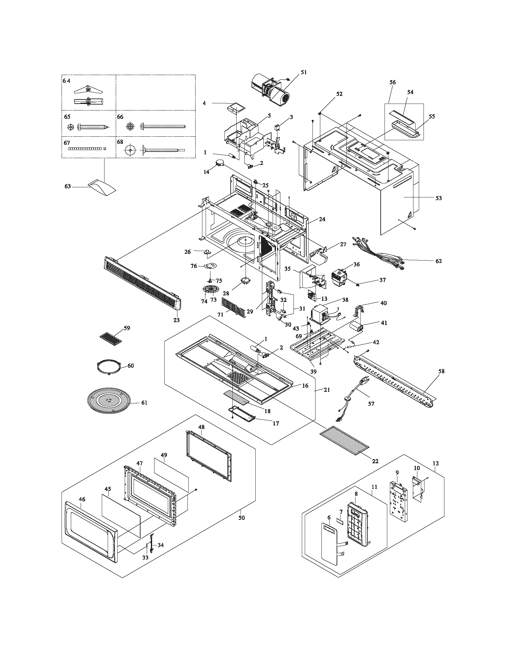 Tappan TMV151FSA recommended spare parts diagram