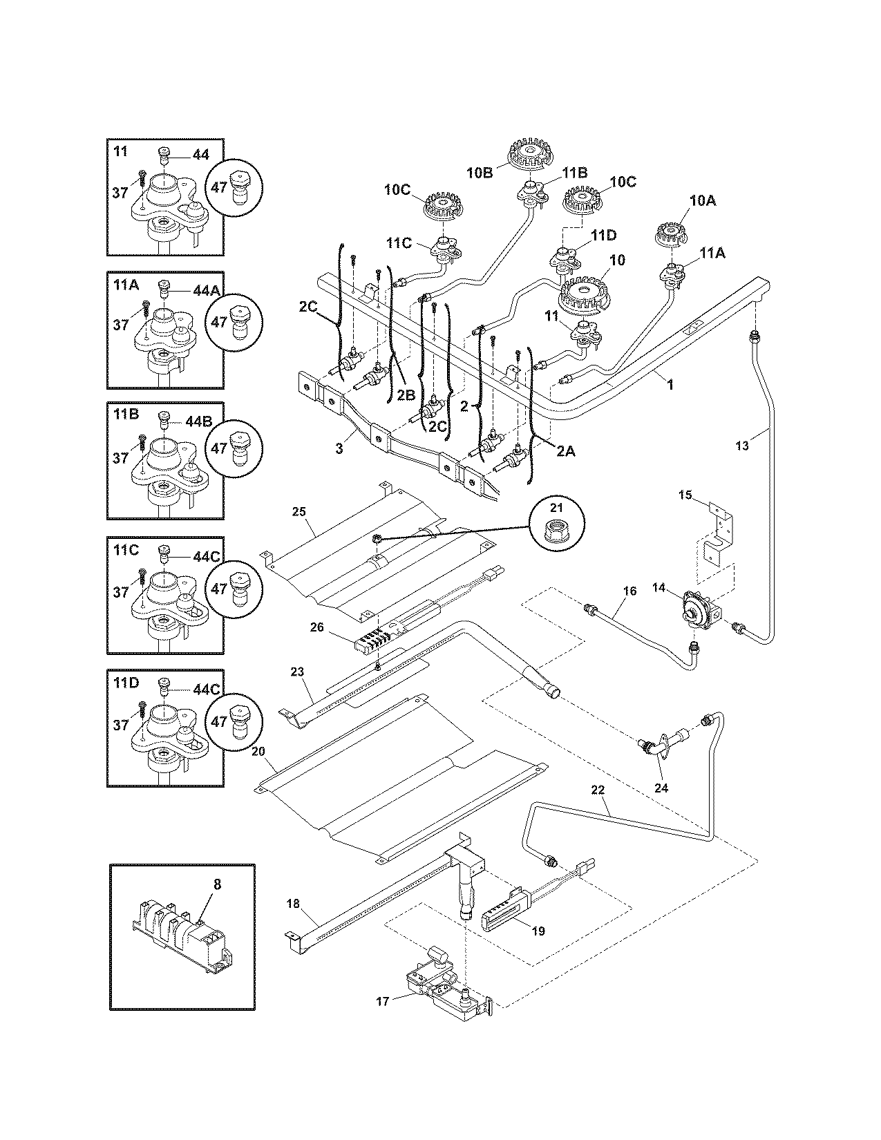 Kenmore  Gas Range  Burner