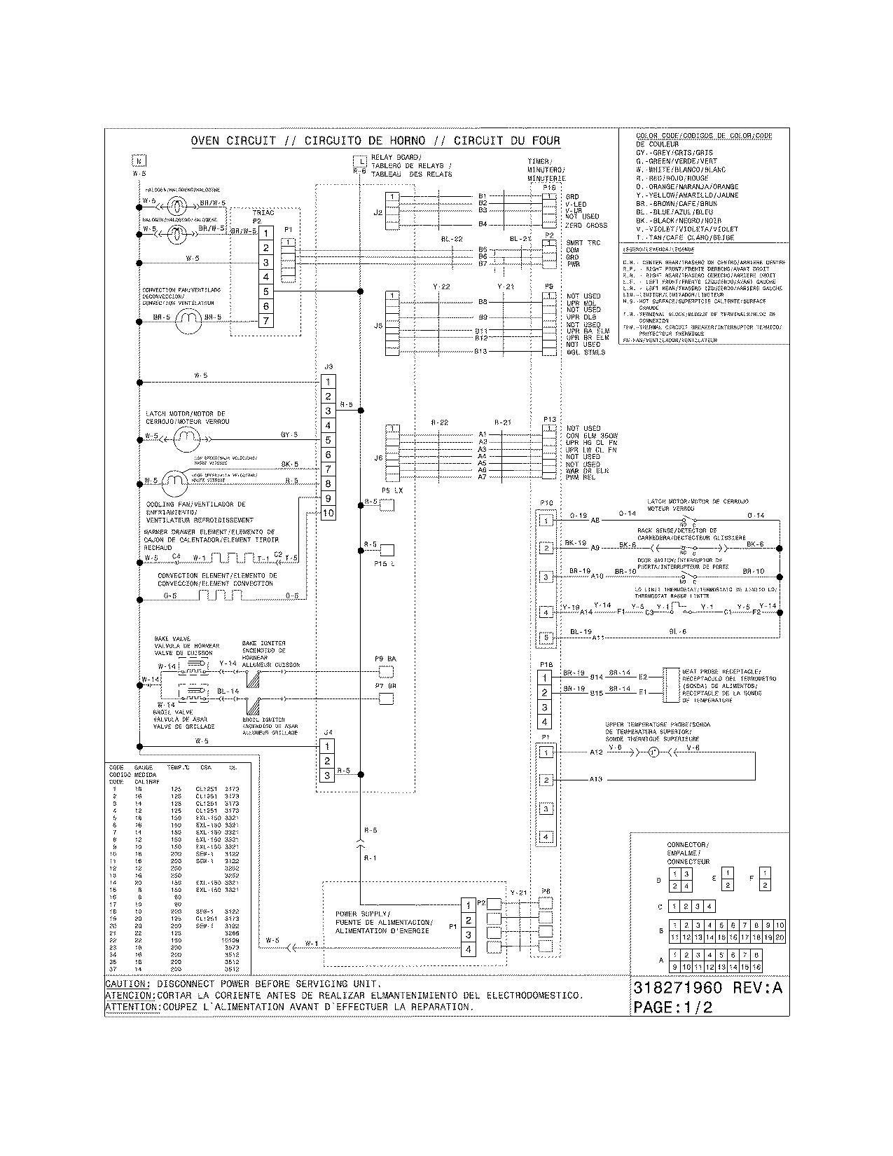 Electrolux  Gas Range  Wiring diagram