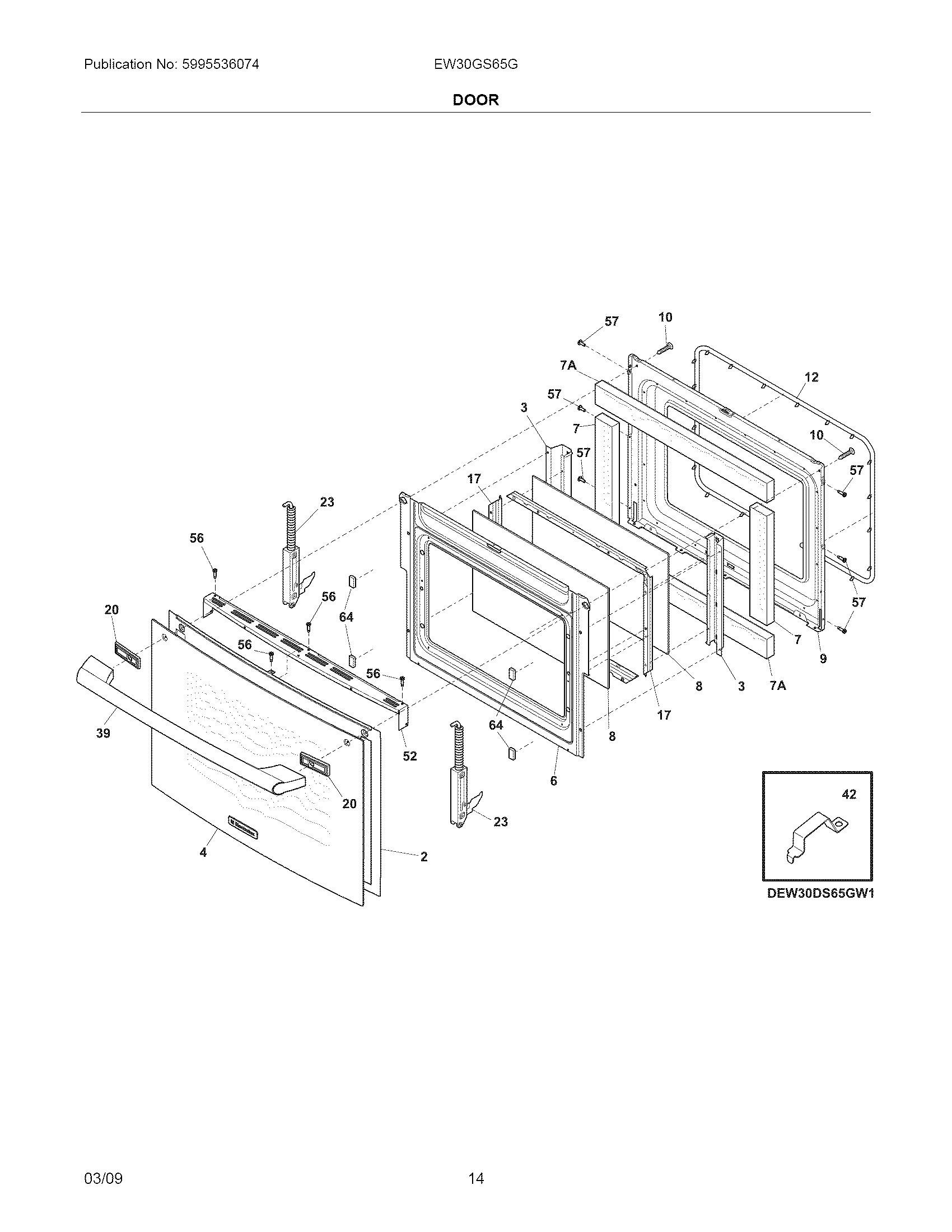 Electrolux  Gas Range  Door