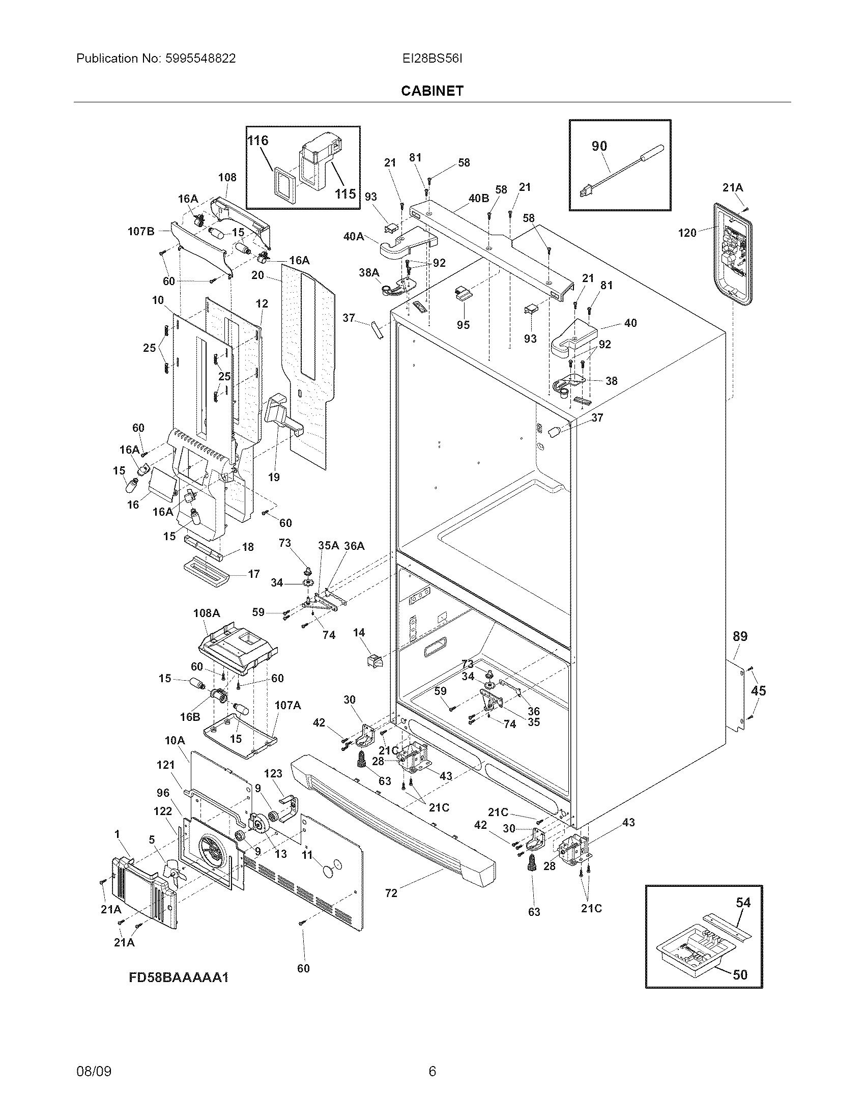 Electrolux Model Ei28bs56ib0 Bottom Mount Refrigerator Genuine Parts Wiring Diagram