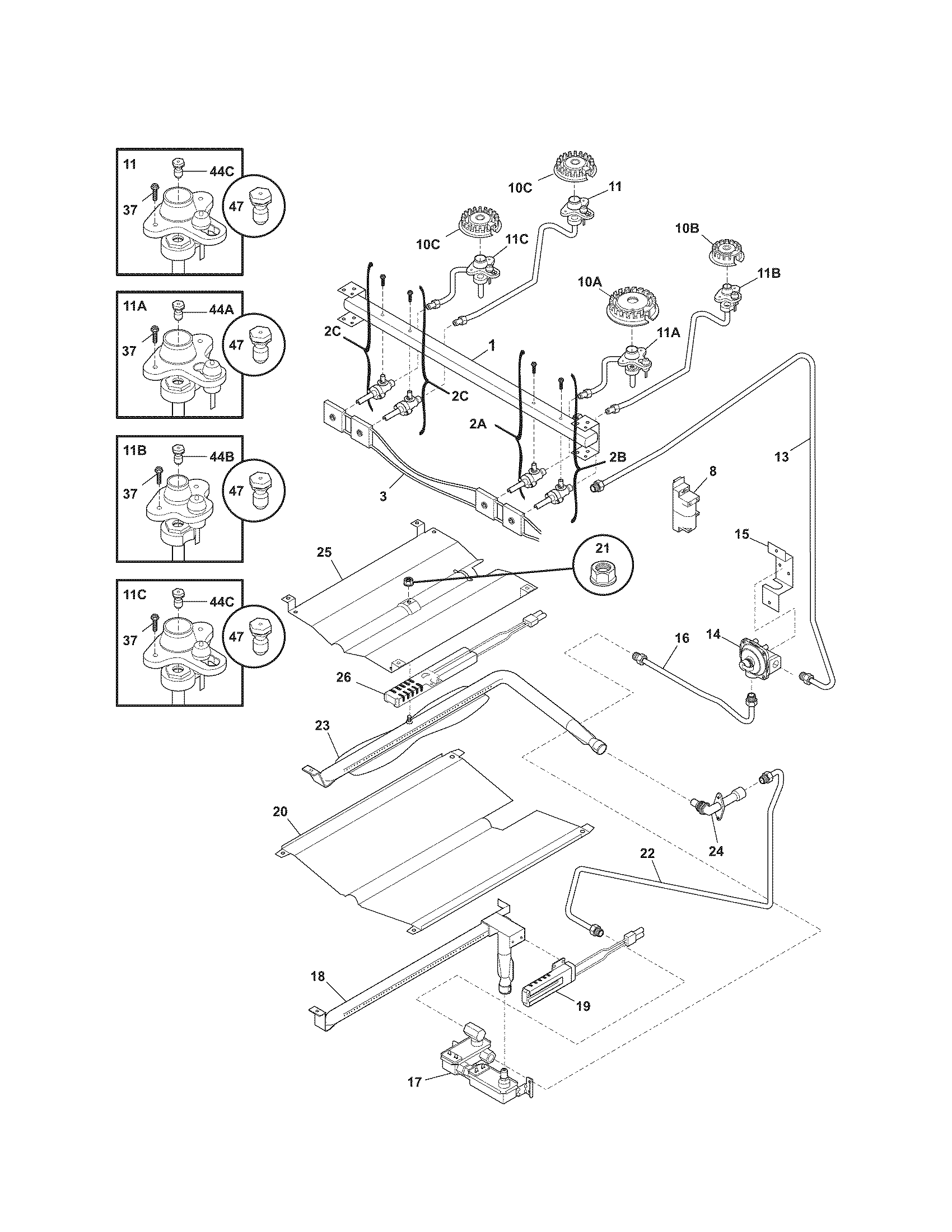Kenmore 79077433902 burner diagram